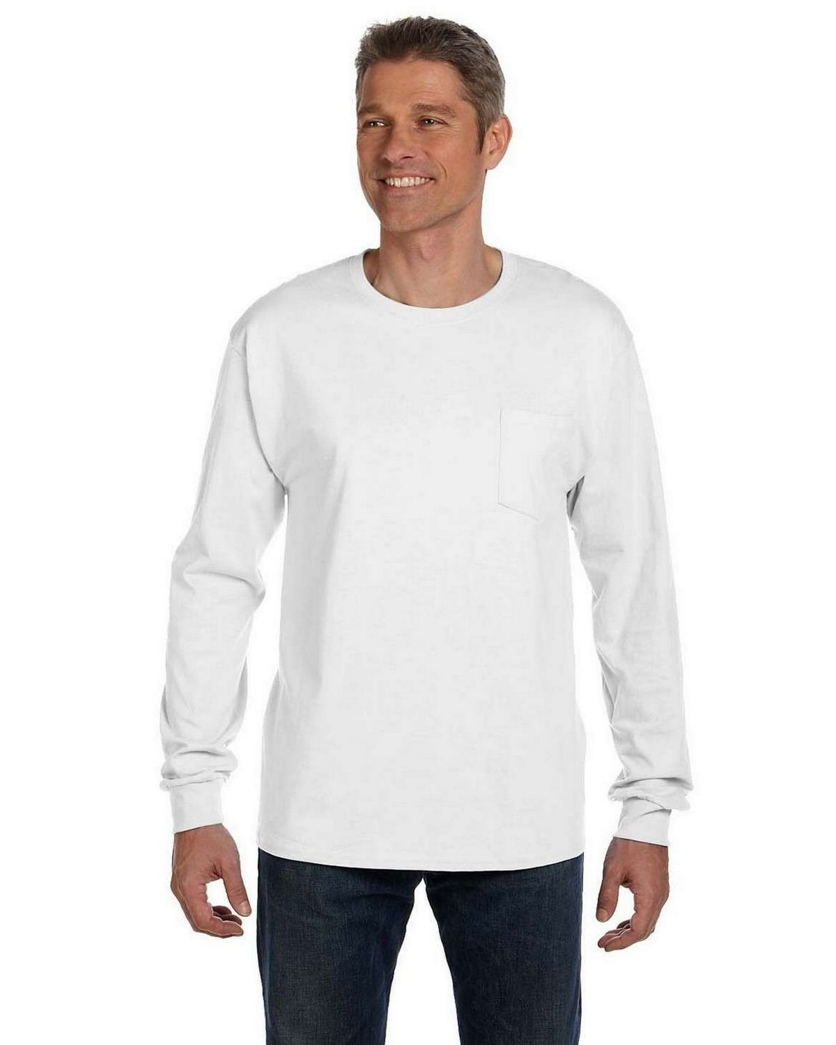 c99d3a7e7ae Buy Hanes 5596 Tagless Long Sleeve Pocket T Shirt