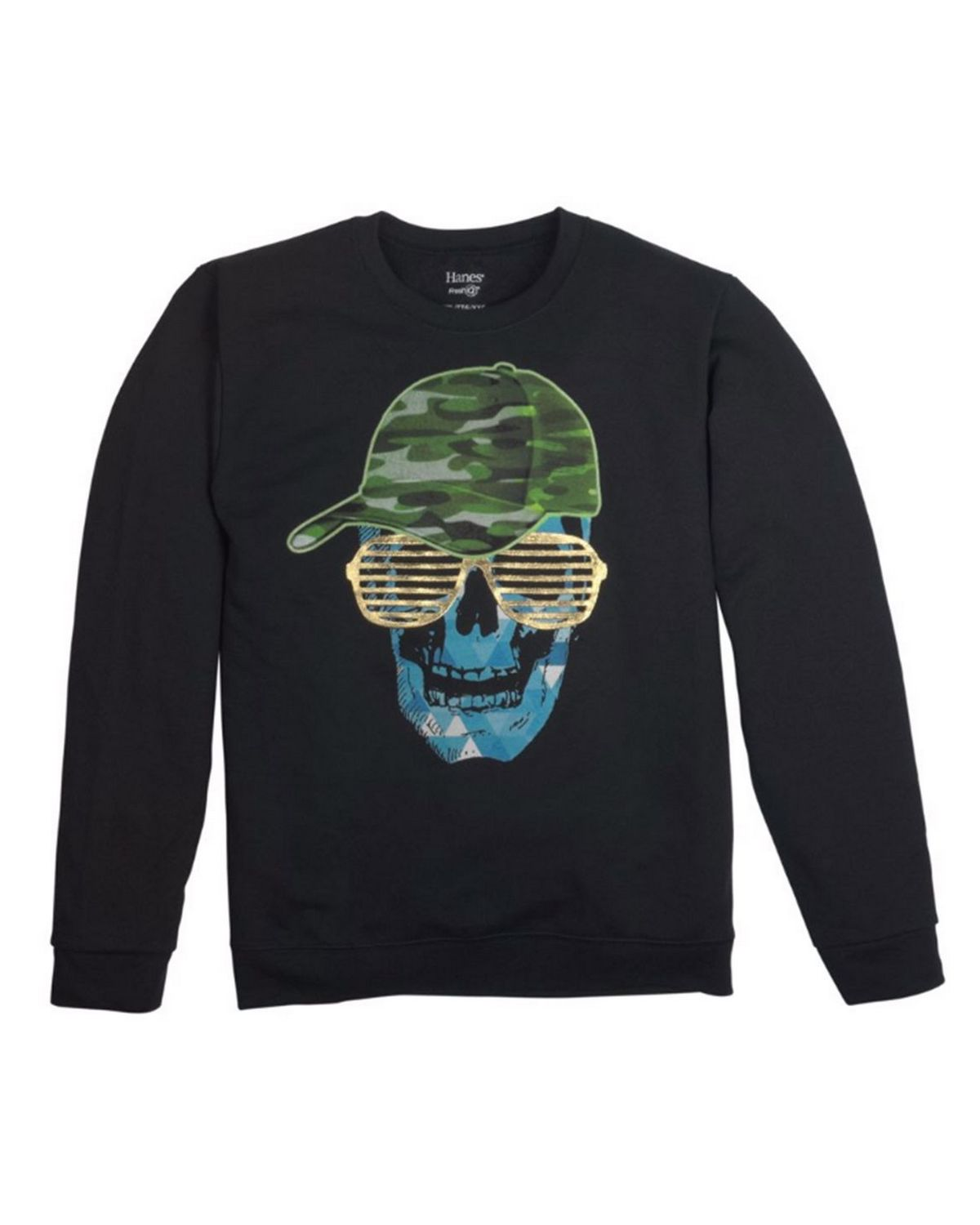 Hanes D199 Boys FreshIQ Graphic Sweatshirt - Skull Shades/Black - S D199