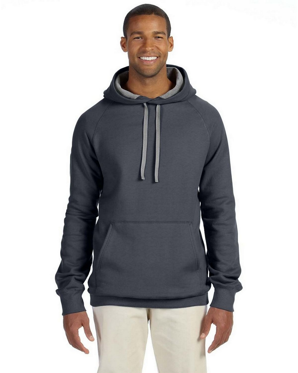 Hanes N270 Nano Pullover Hoodie Sweatshirt - Charcoal Heather - XL N270