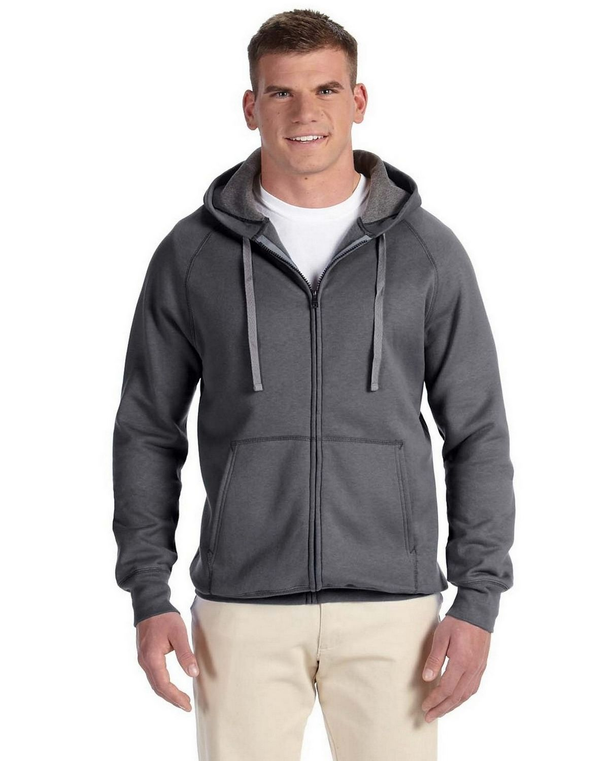 Hanes N280 Nano Full Zip Hoodie Sweatshirt - Charcoal Heather - L N280