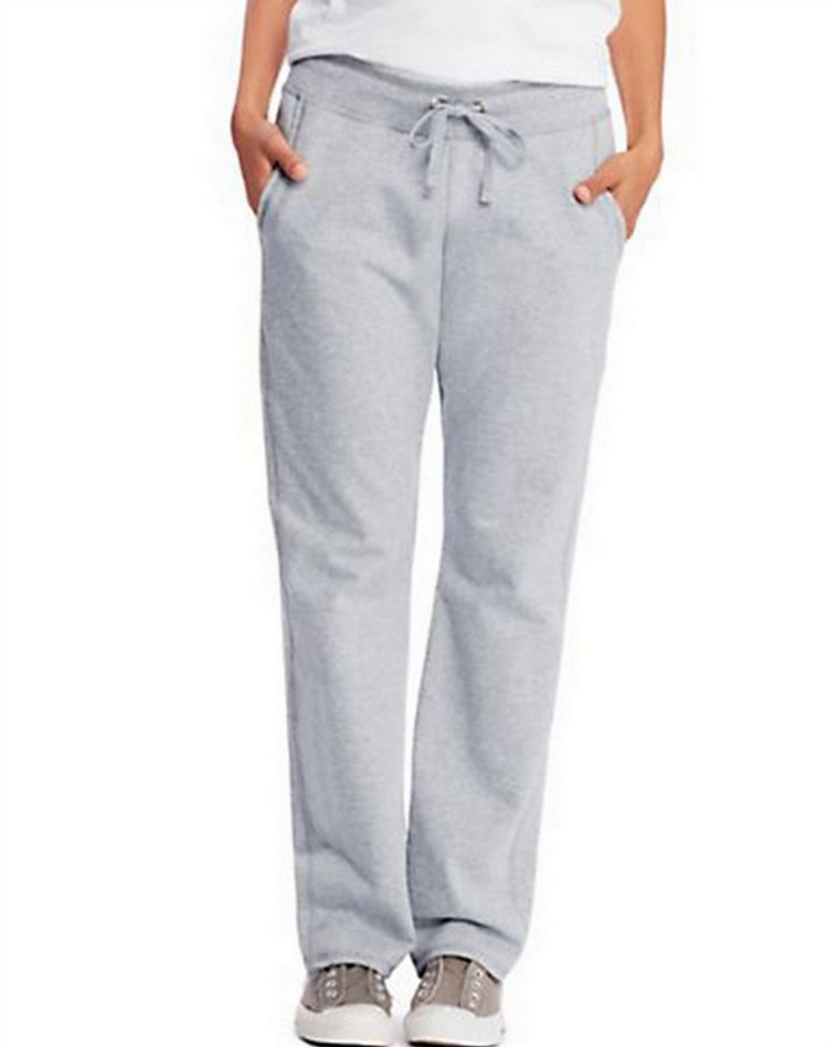 Hanes O4677 Womens French Terry Pocket Pant - Light Steel - S O4677