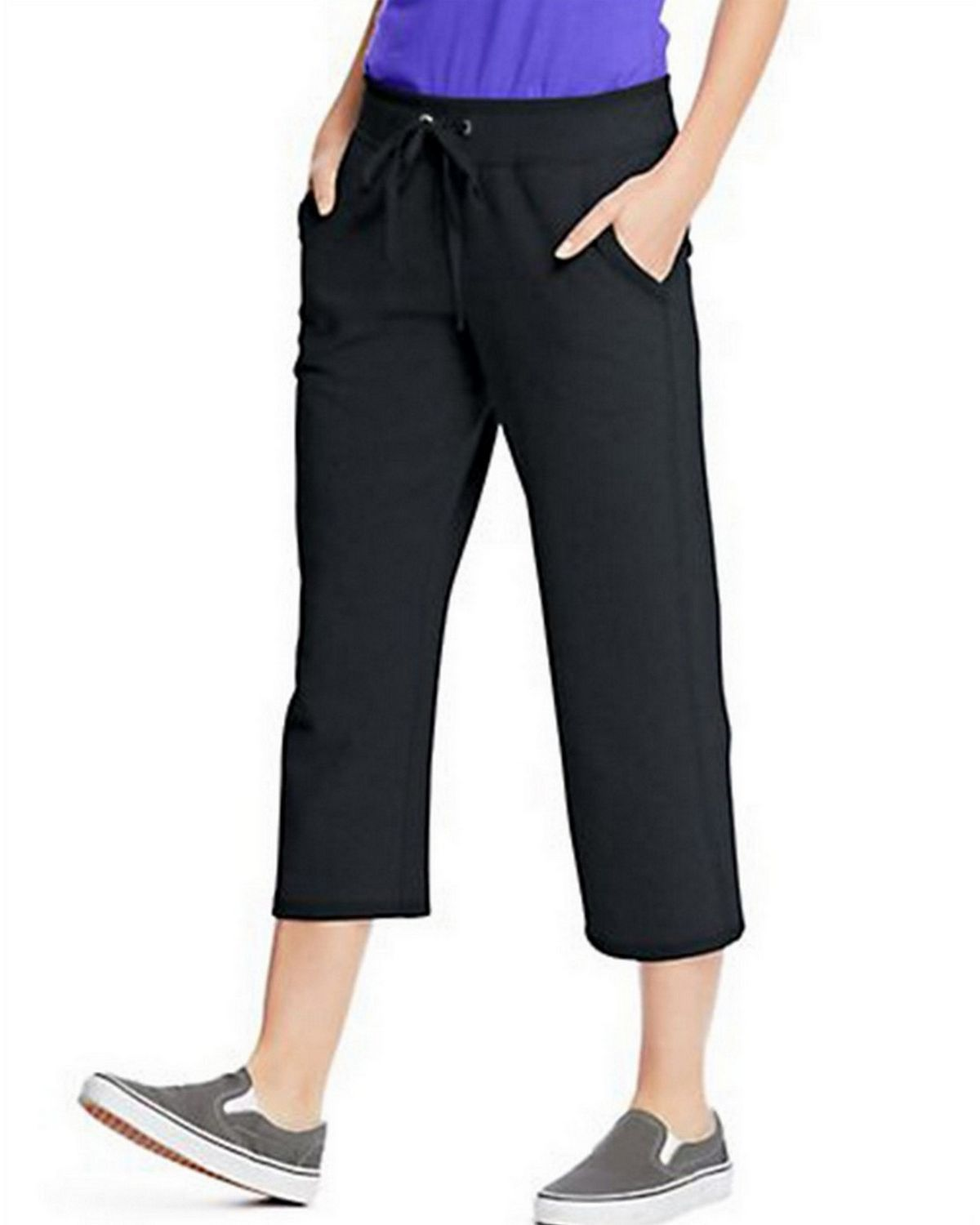 Hanes O4679 Womens French Terry Pocket Capri - Black - L O4679