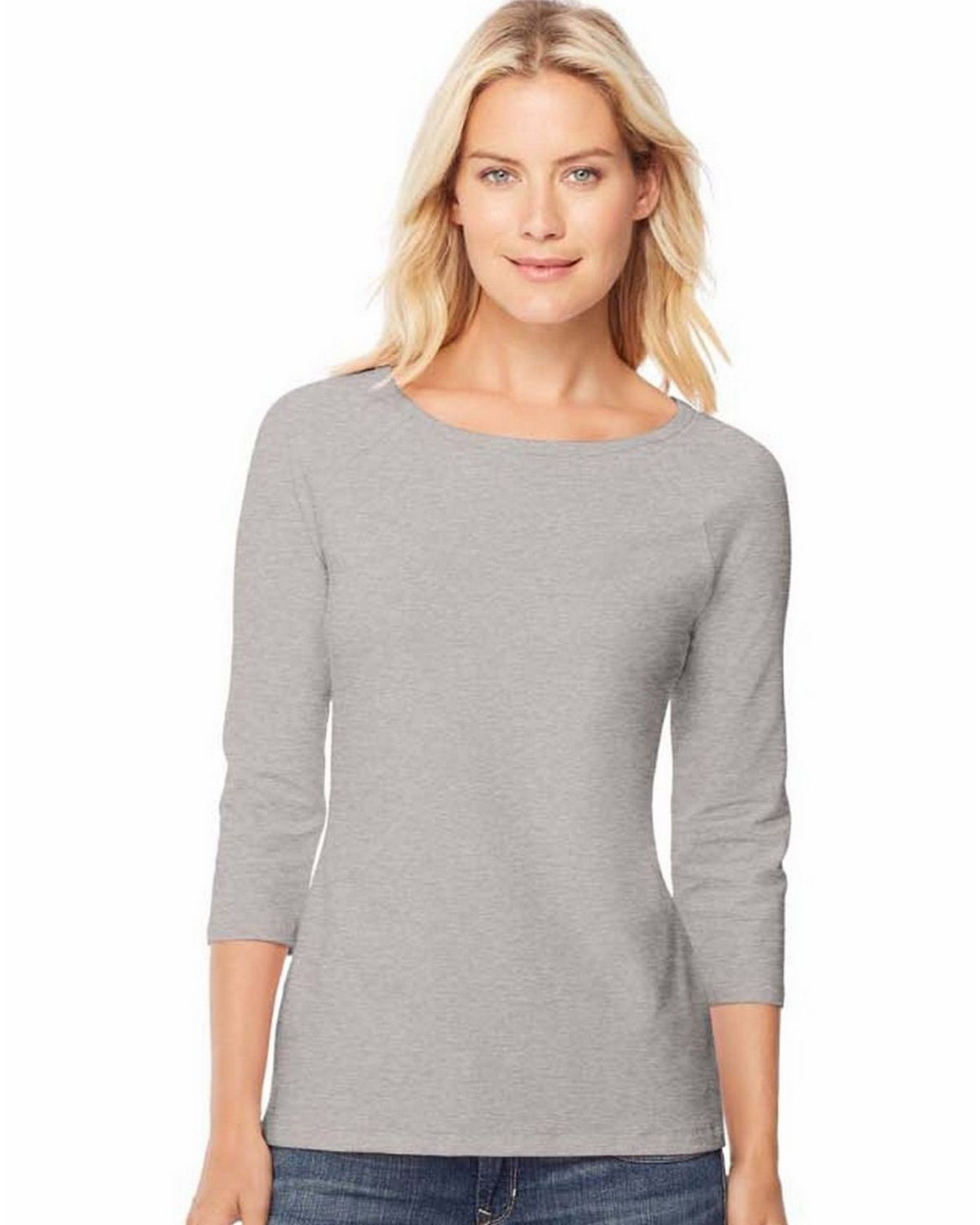 Hanes O9343 Cotton Womens Raglan Sleeve Tee - Grey Heather - M O9343