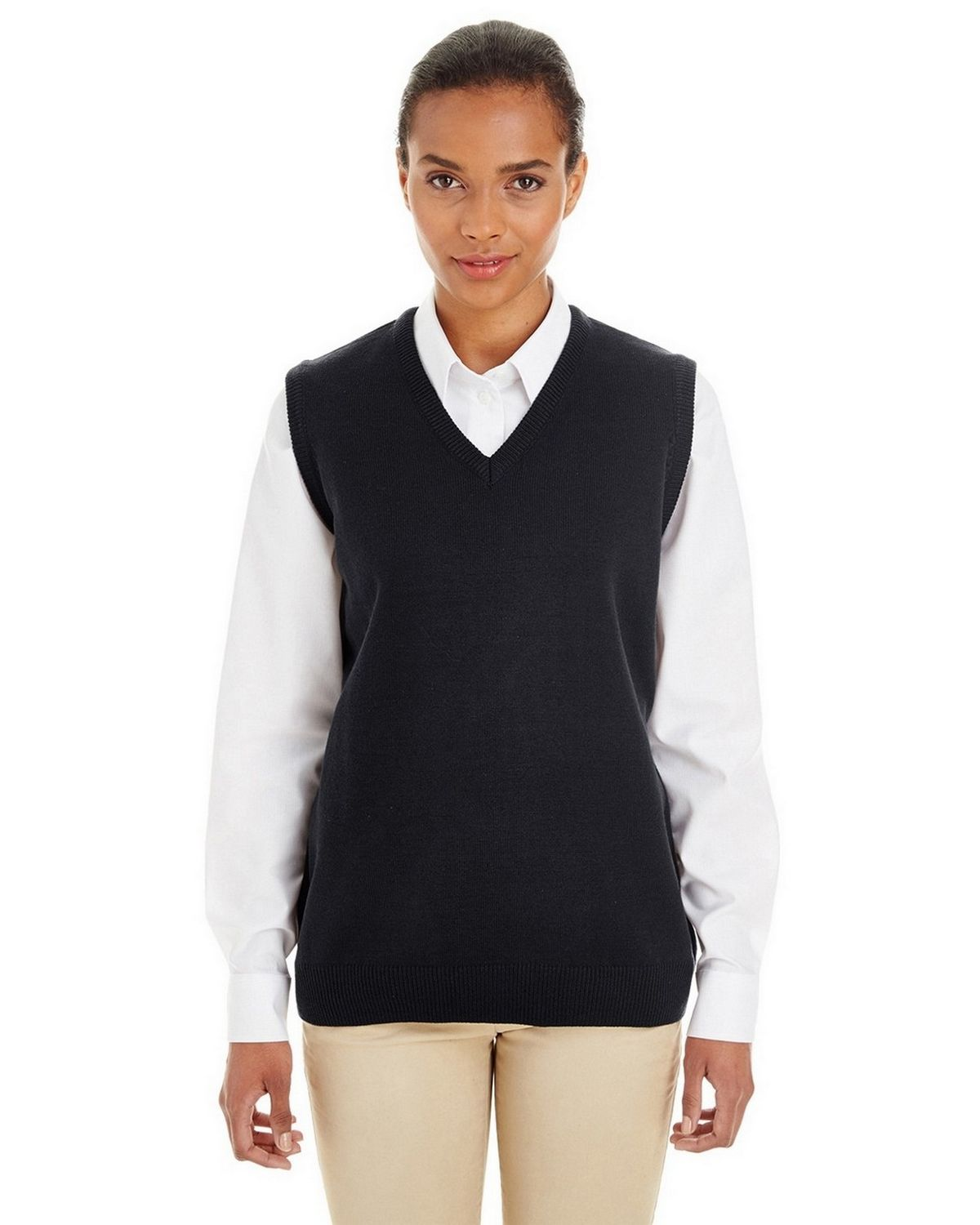 Harriton M415W Ladies Pilbloc V-Neck Sweater Vest - Black - S M415W