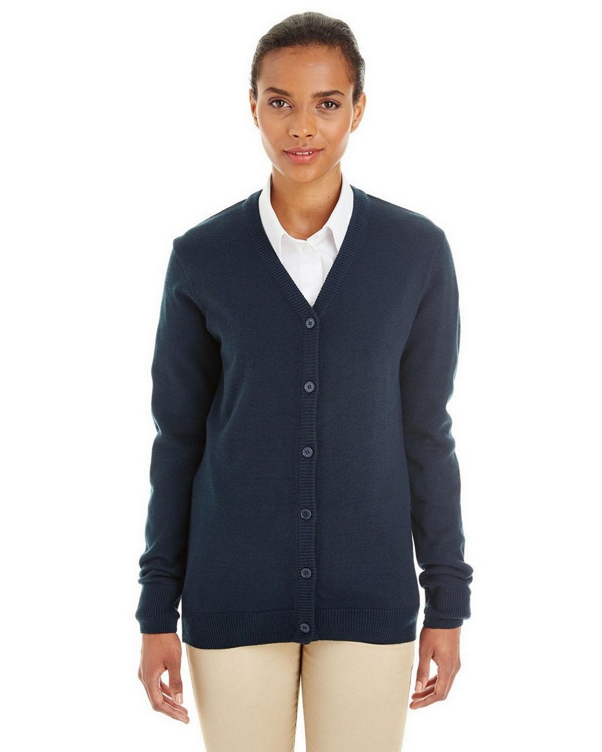 Harriton M425W Ladies Pilbloc Cardigan Sweater - ApparelnBags.com