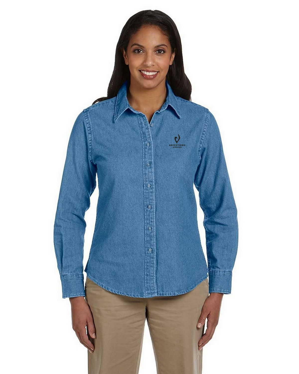 a5264cd3 Logo Embroidered Harriton M550W Ladies Long-Sleeve Denim Shirt