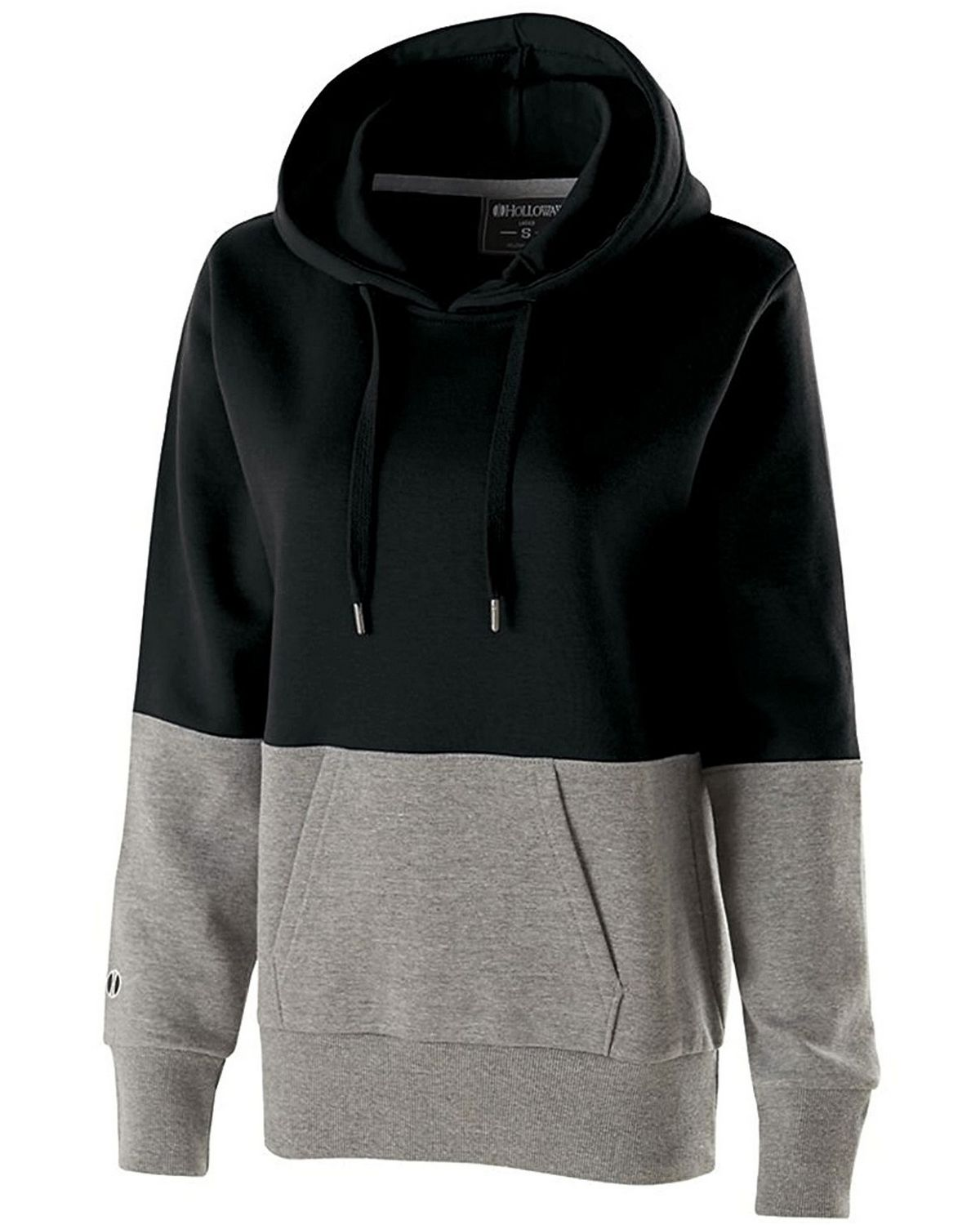 Holloway 229378 Cotton/Poly Ration Hoodie - Black/Charcoal Heather - L 229378