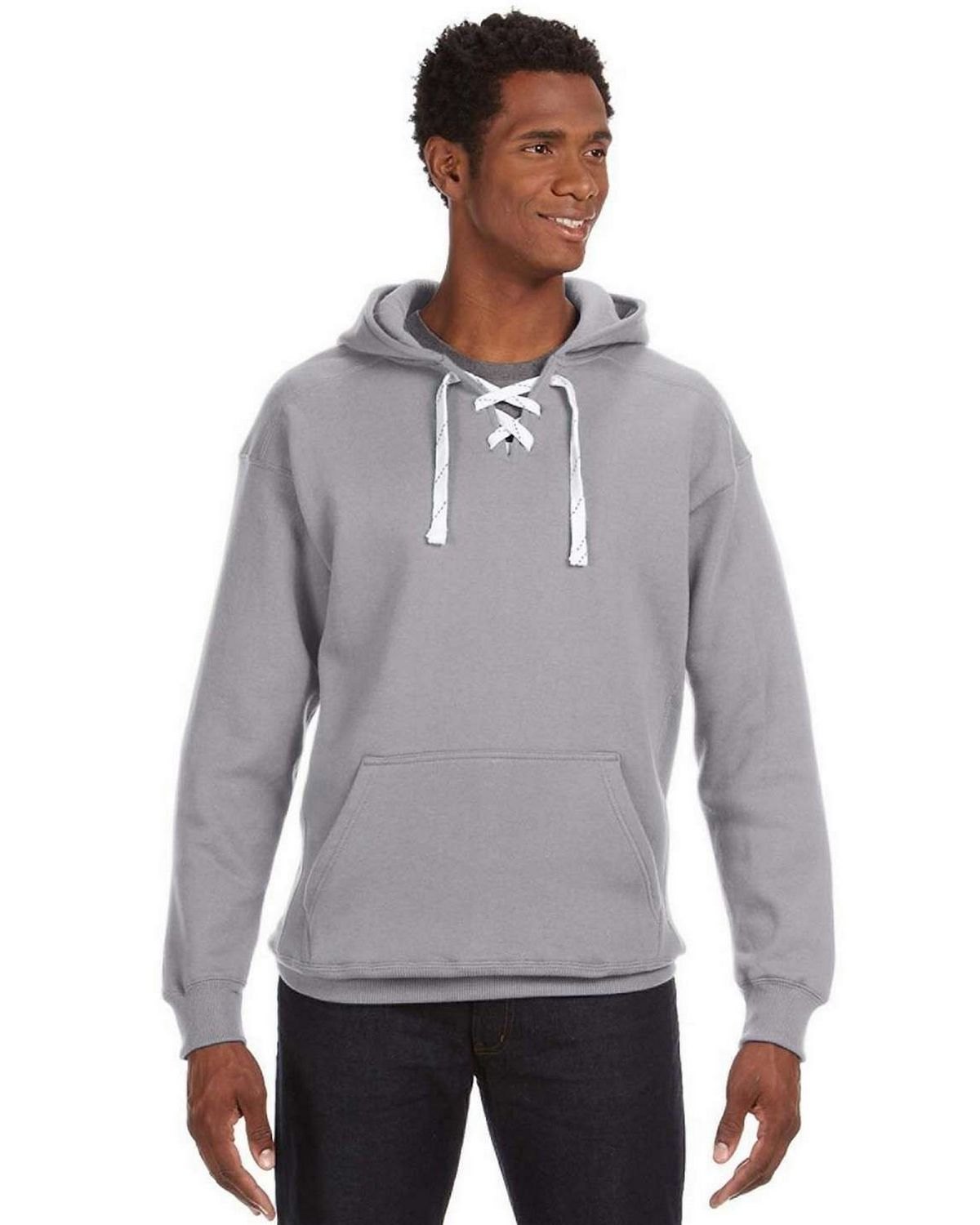 J America J8830 Hockey Hood SweatShirt - Oxford - S J8830