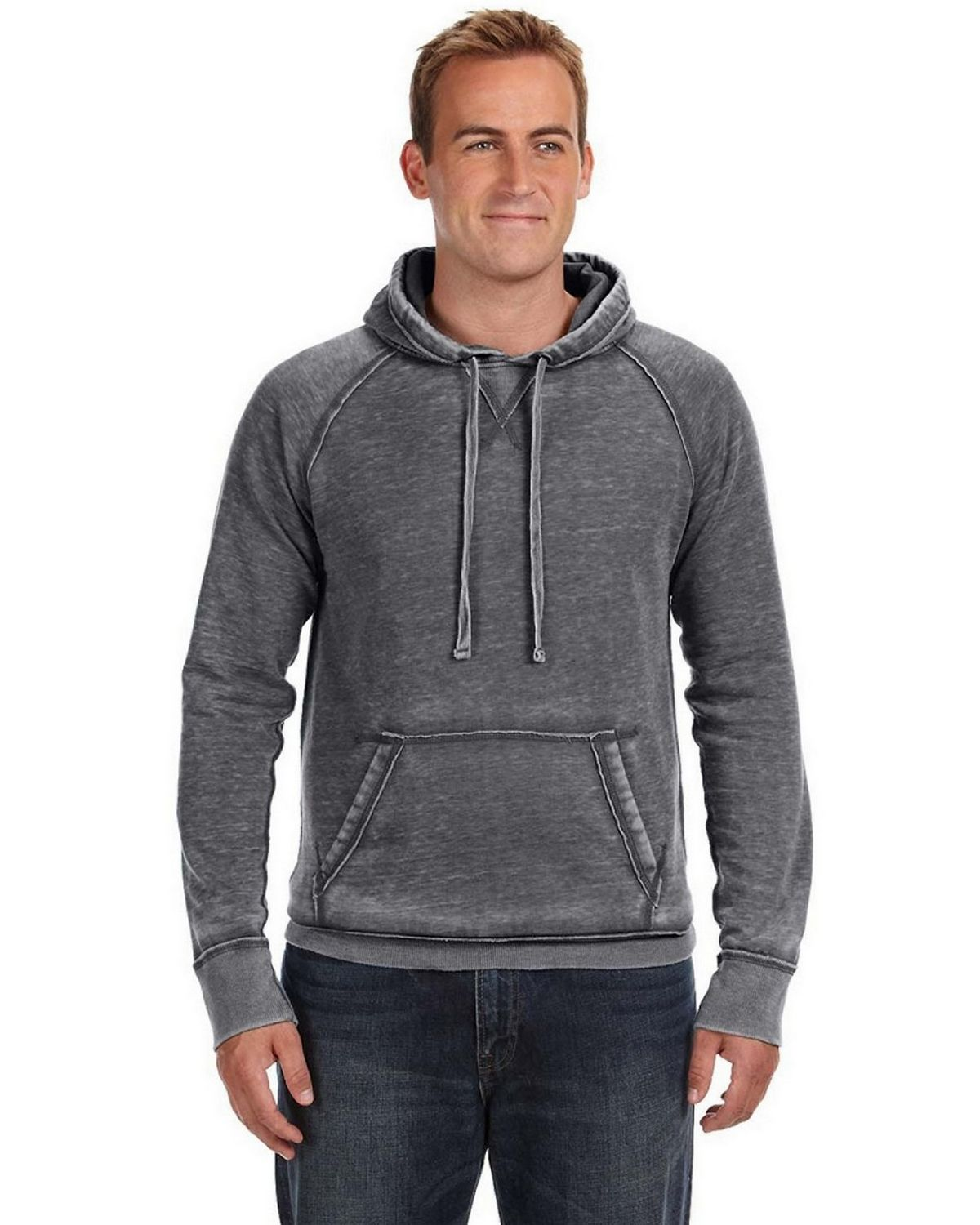 J America J8915 JA Burnout Hooded Sweatshirt - Dark Smoke - XL J8915