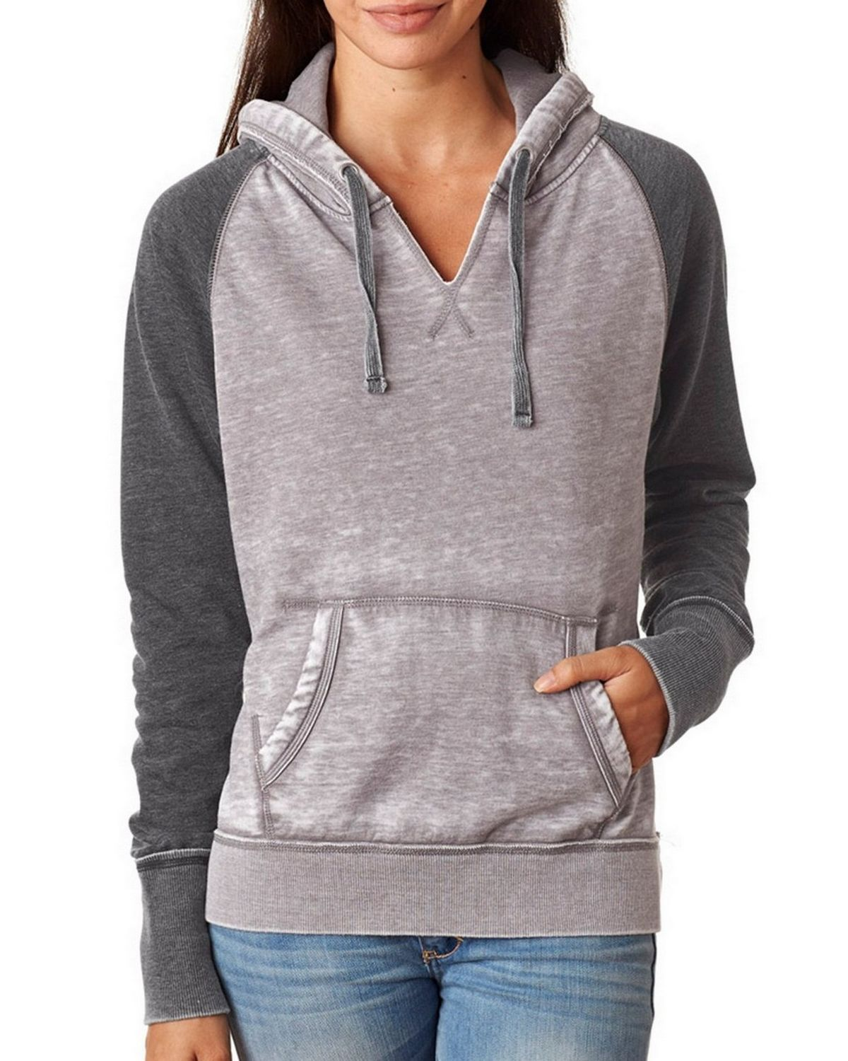 J America J8926 Ladies Zen Contrast Pullover - Cement/Wildberry - M J8926