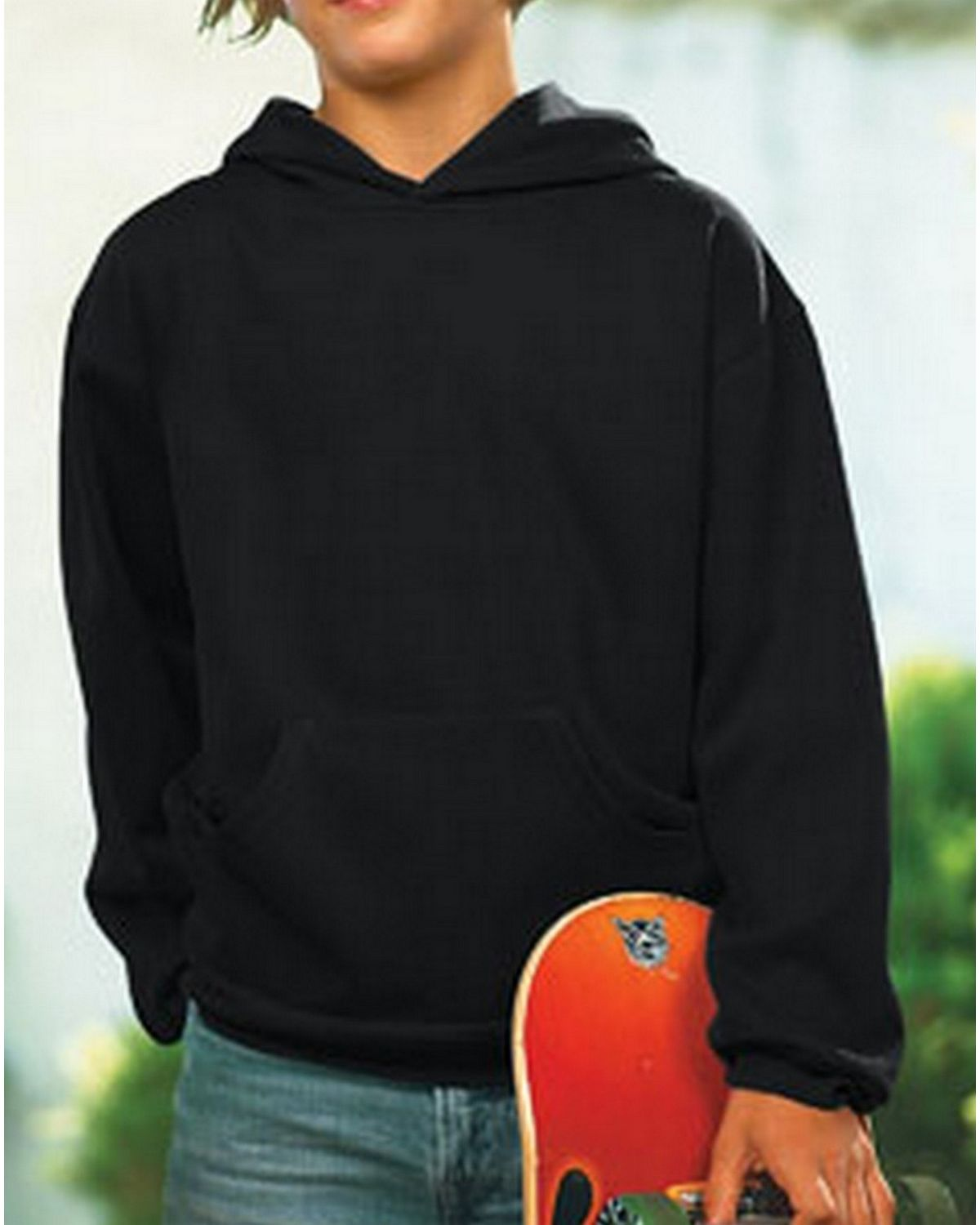 LAT 2296 Youth Fleece Hooded Pullover Sweatshirt - Black - XL 2296
