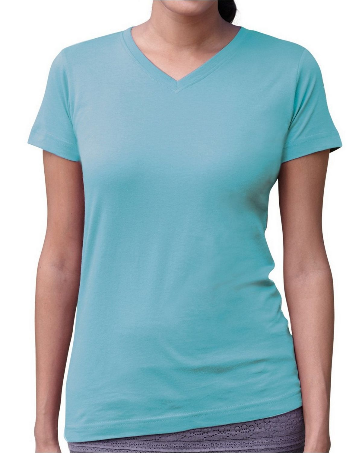 LAT 3507 Fine Jersey Longer Length T-Shirt - Aqua - XL 3507