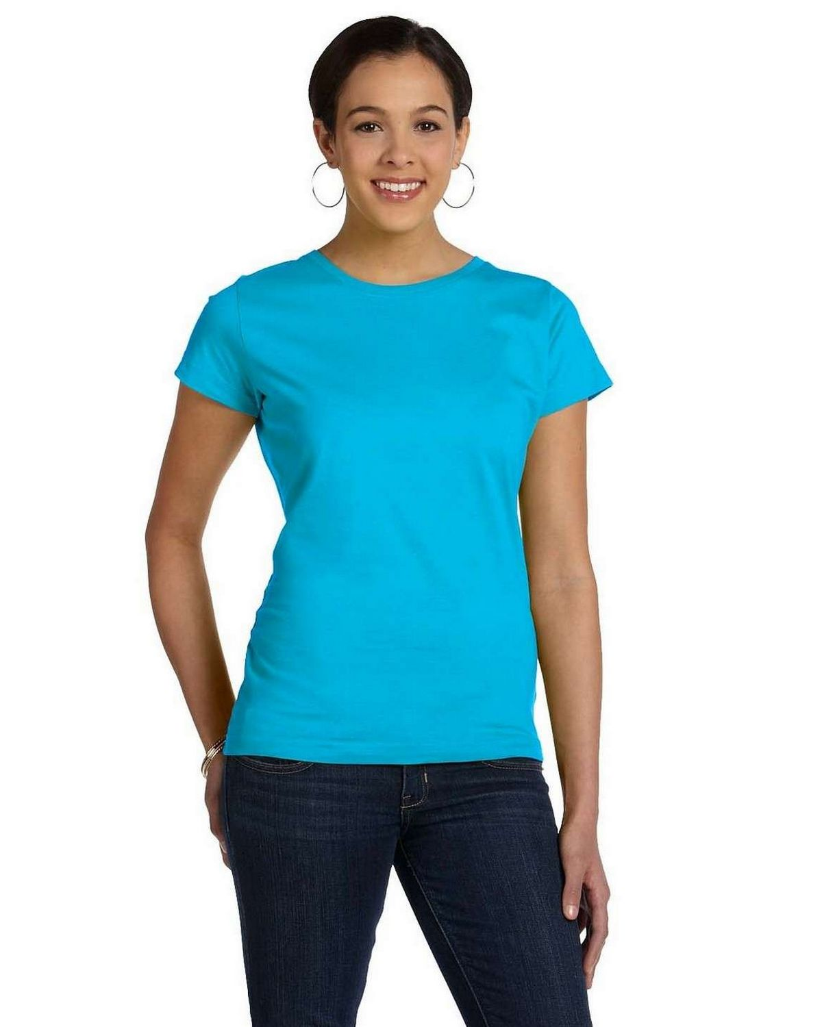 Lat 3516 Fine Jersey Longer Length T-Shirt - Aqua - XL 3516