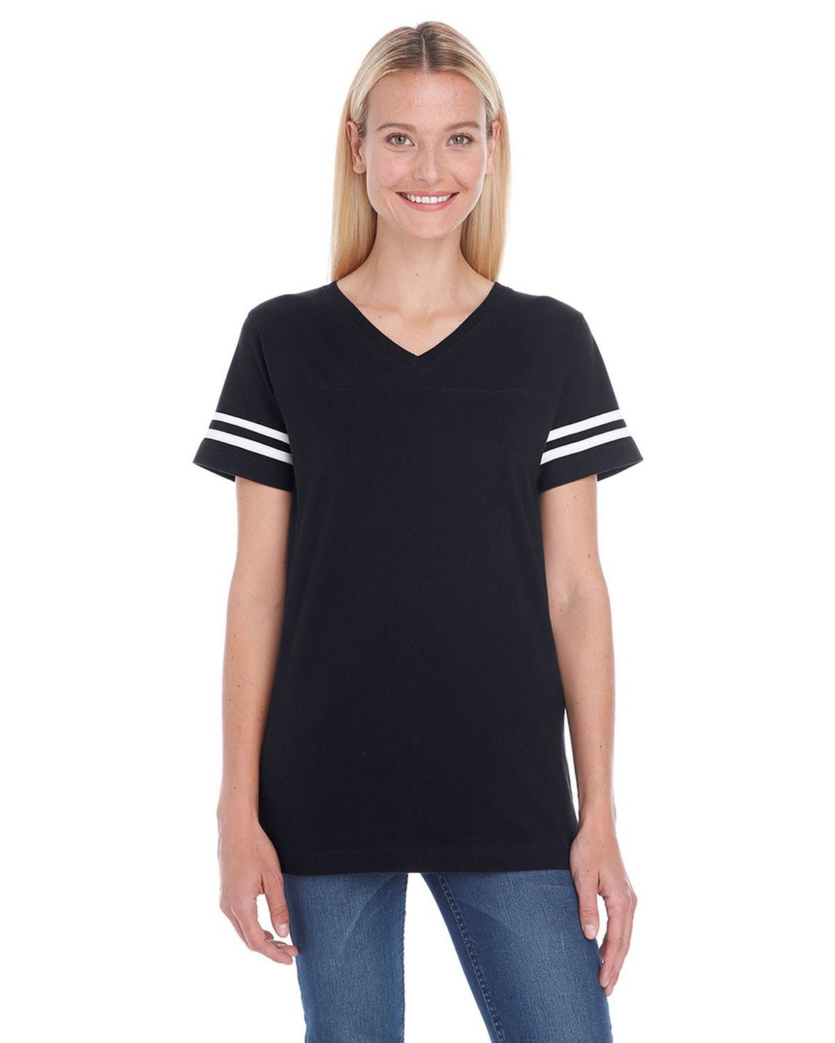 Lat 3537 Ladies Football Tee - Black/White - L 3537