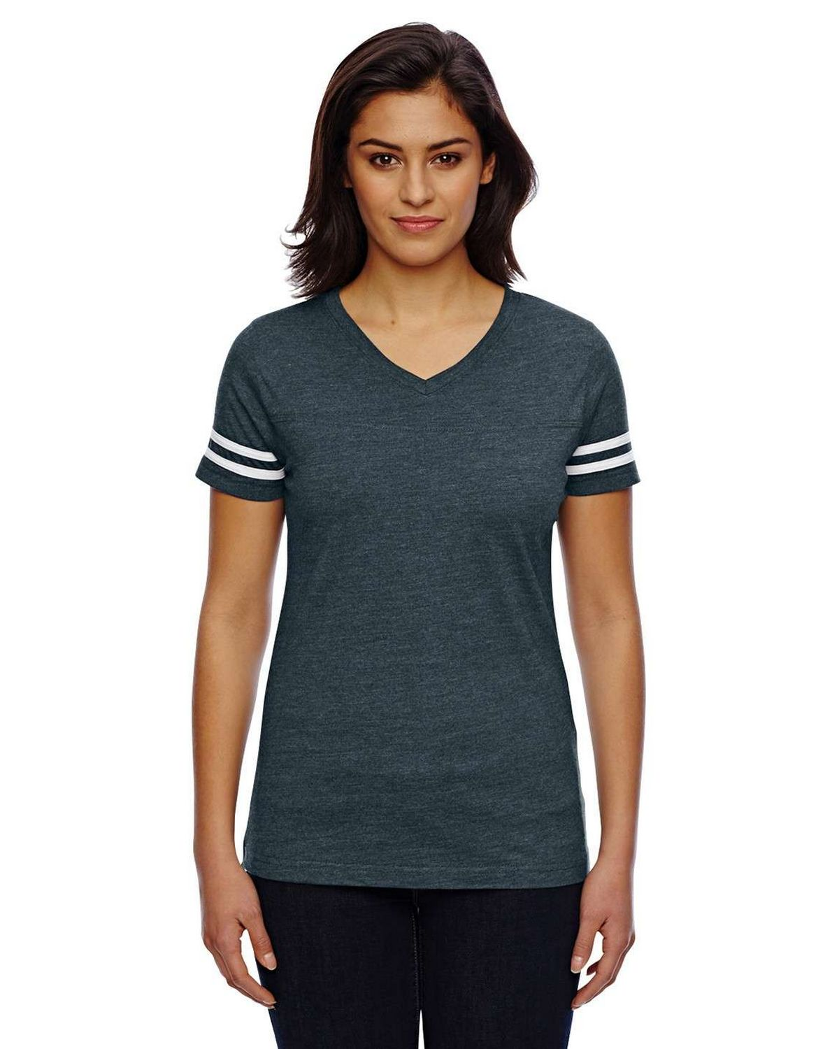 Lat 3537 Ladies Football Tee - Vintage Navy/Blended White - L 3537