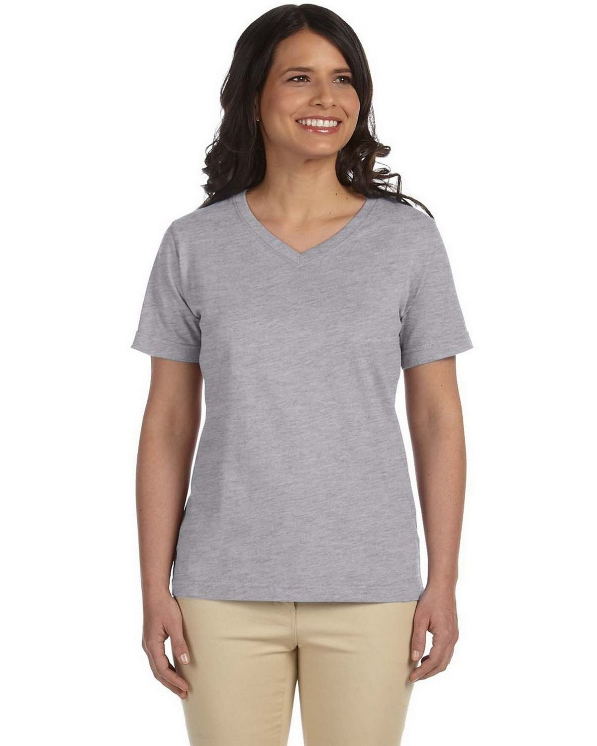 LAT L3587 Ladies Combed Ringspun Jersey T-Shirt - Heather - S L3587