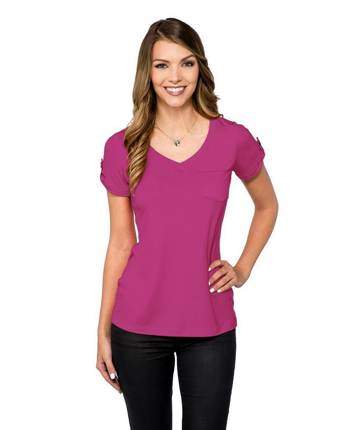 Lilac Bloom LB002 Chloe Pocket Tee - Berry - XS LB002
