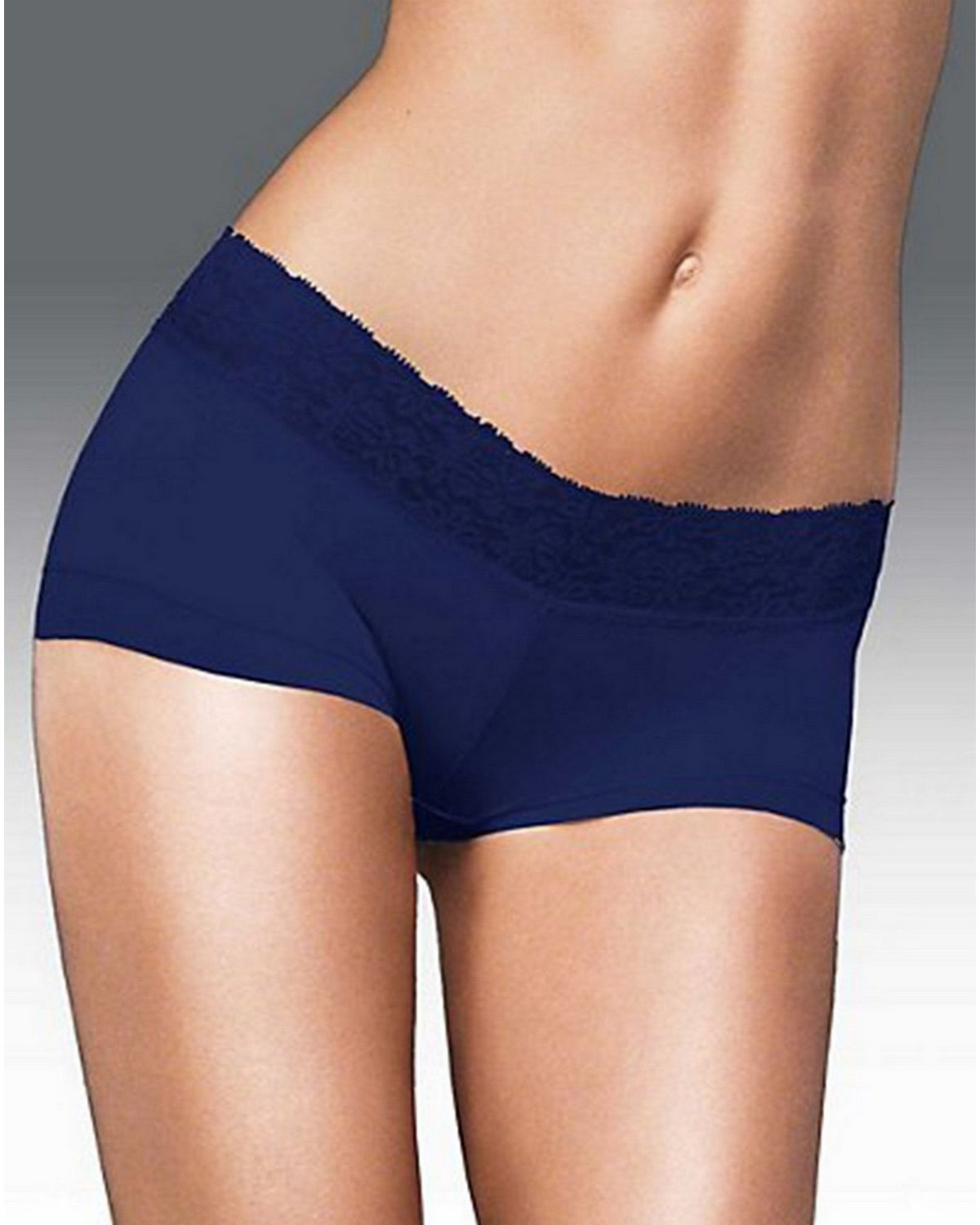 Maidenform 40859 Cotton Dream Boyshort with Lace - Navy - 5 40859