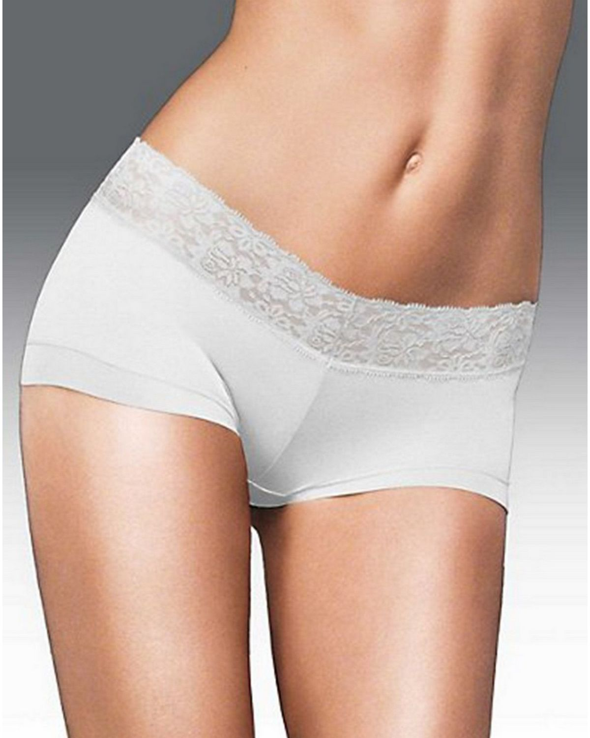 Maidenform 40859 Cotton Dream Boyshort with Lace - White - 5 40859