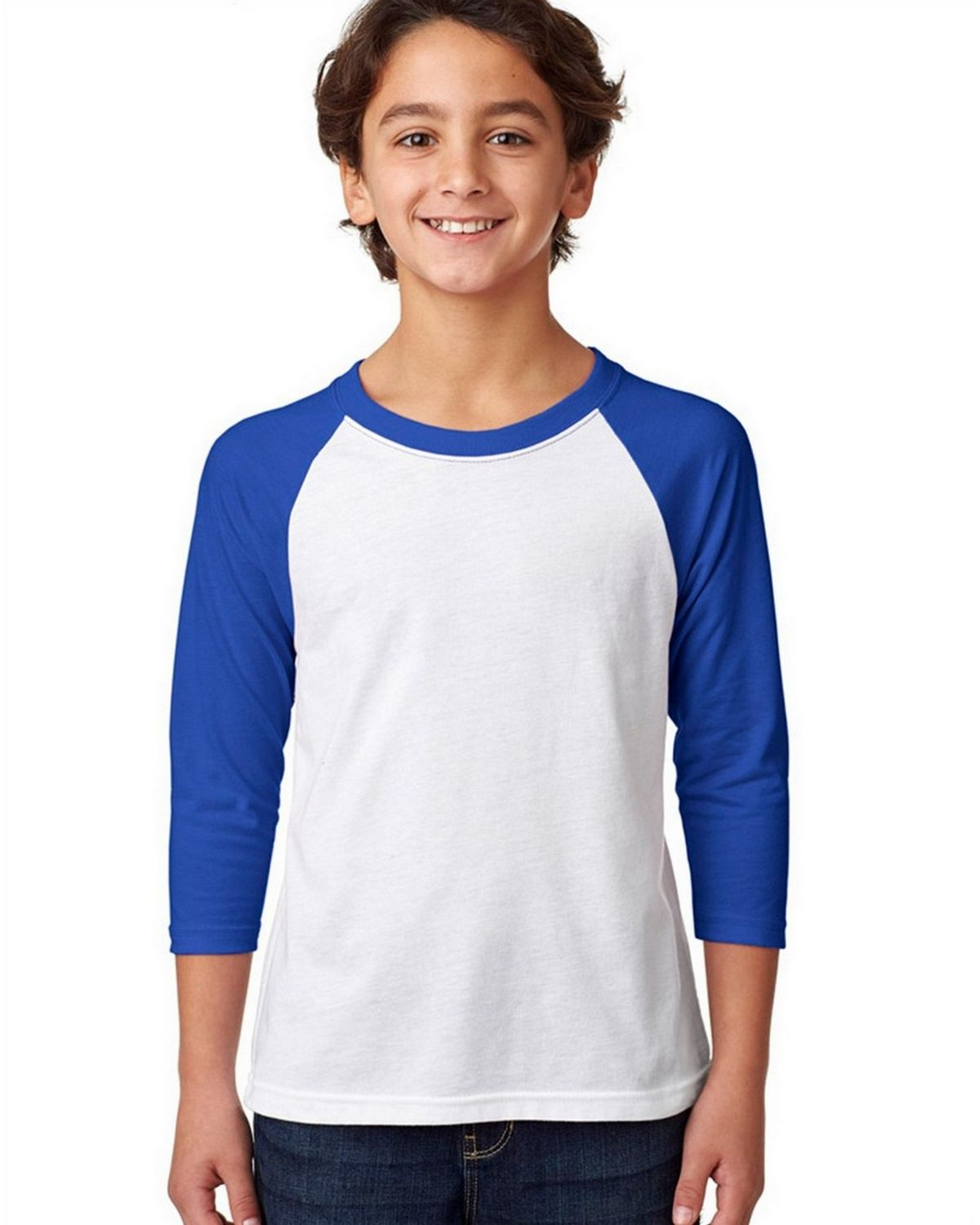 Next Level 3352 CVC 3/4 Sleeve Raglan Tee - Royal/White - XL 3352