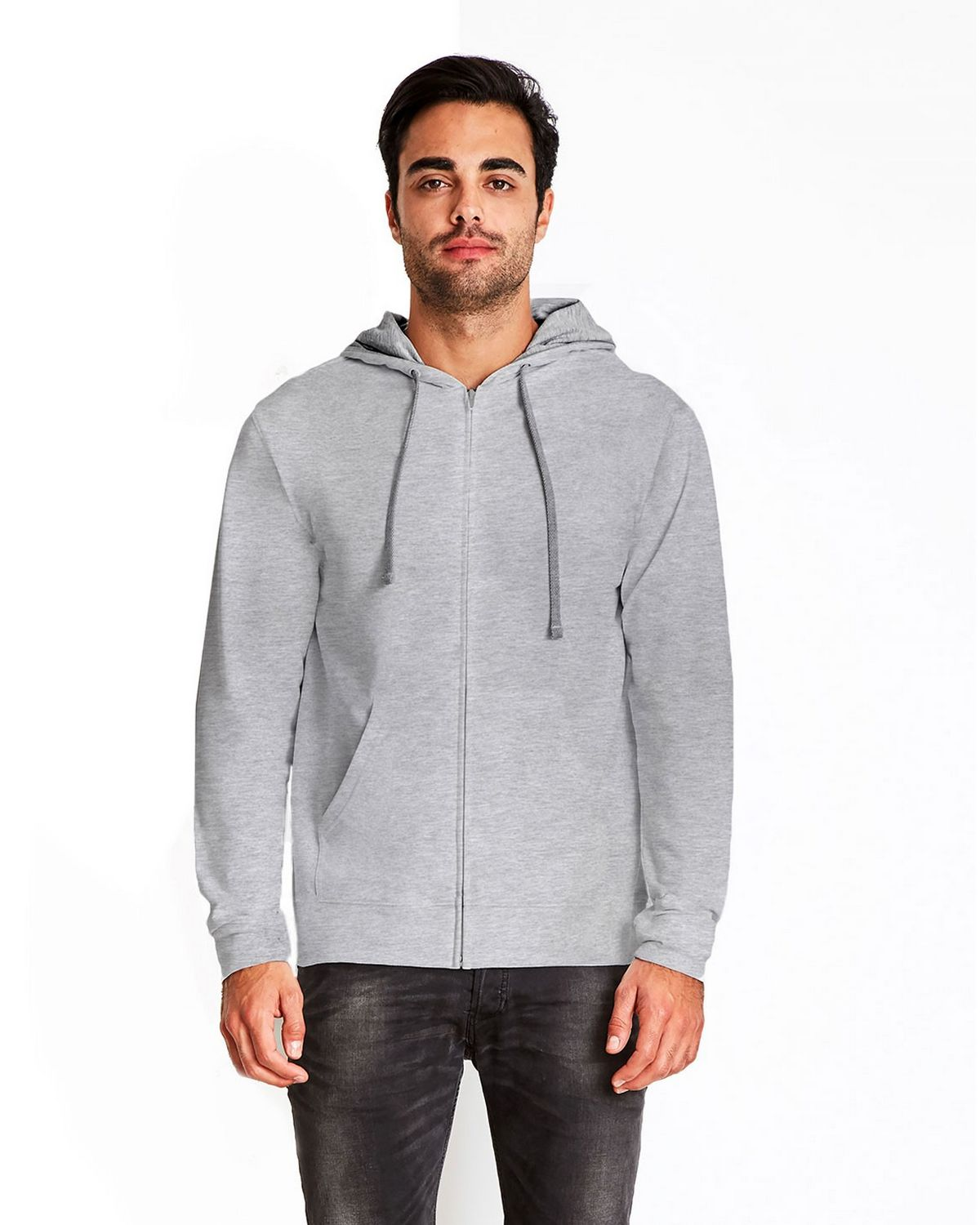 Next Level 9601 French Terry Zip Hoody - Heather Grey/Heather Grey - L 9601