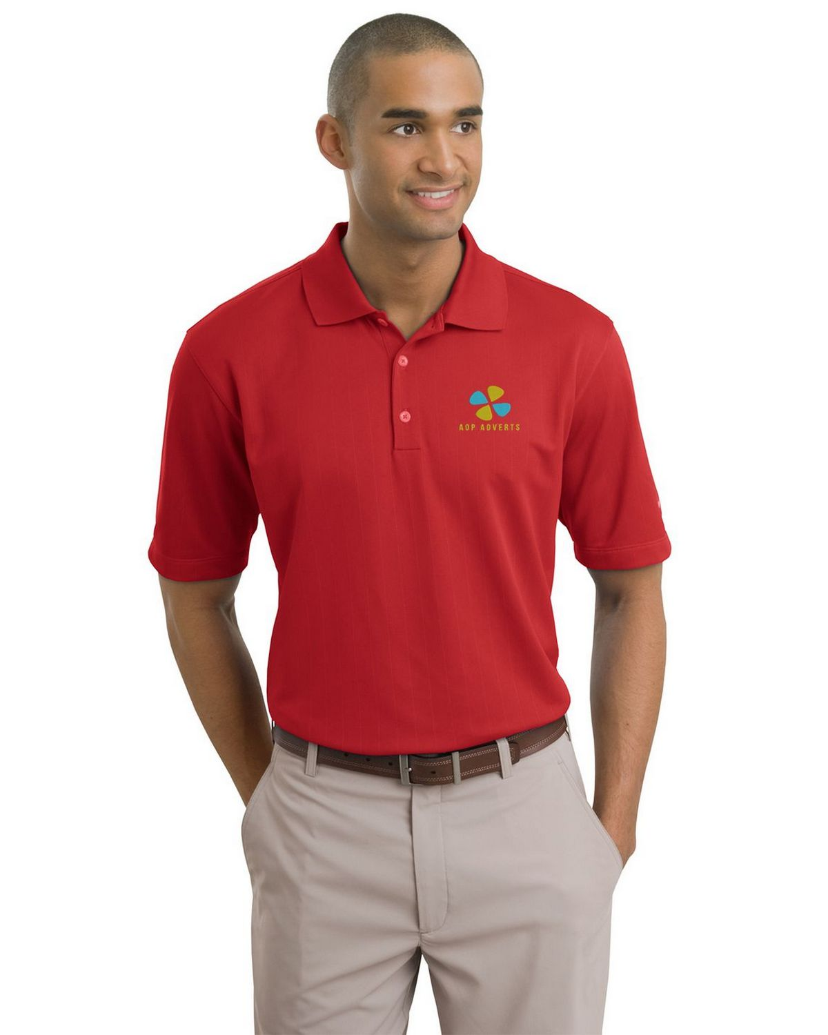 Nike golf dri fit textured logo embroidered polo at for Nike dri fit embroidered shirts