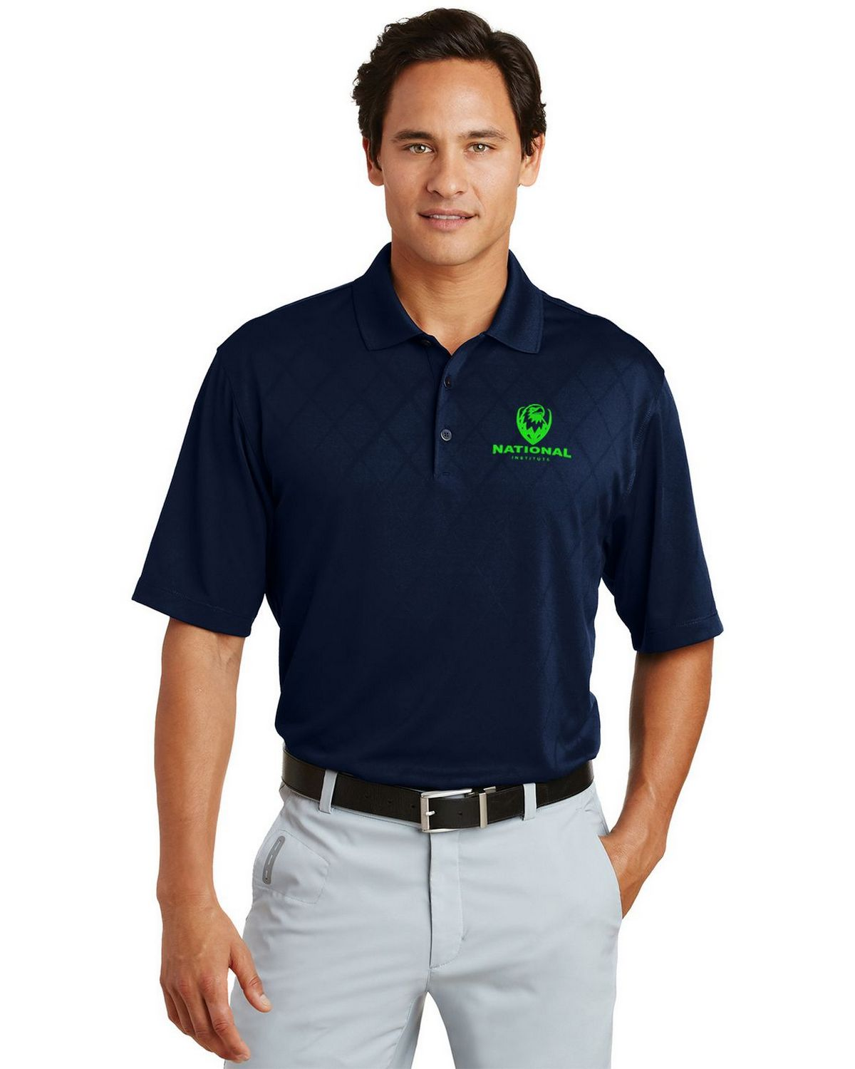 Nike golf dri fit cross over texture logo embroidered polo for Nike dri fit embroidered shirts