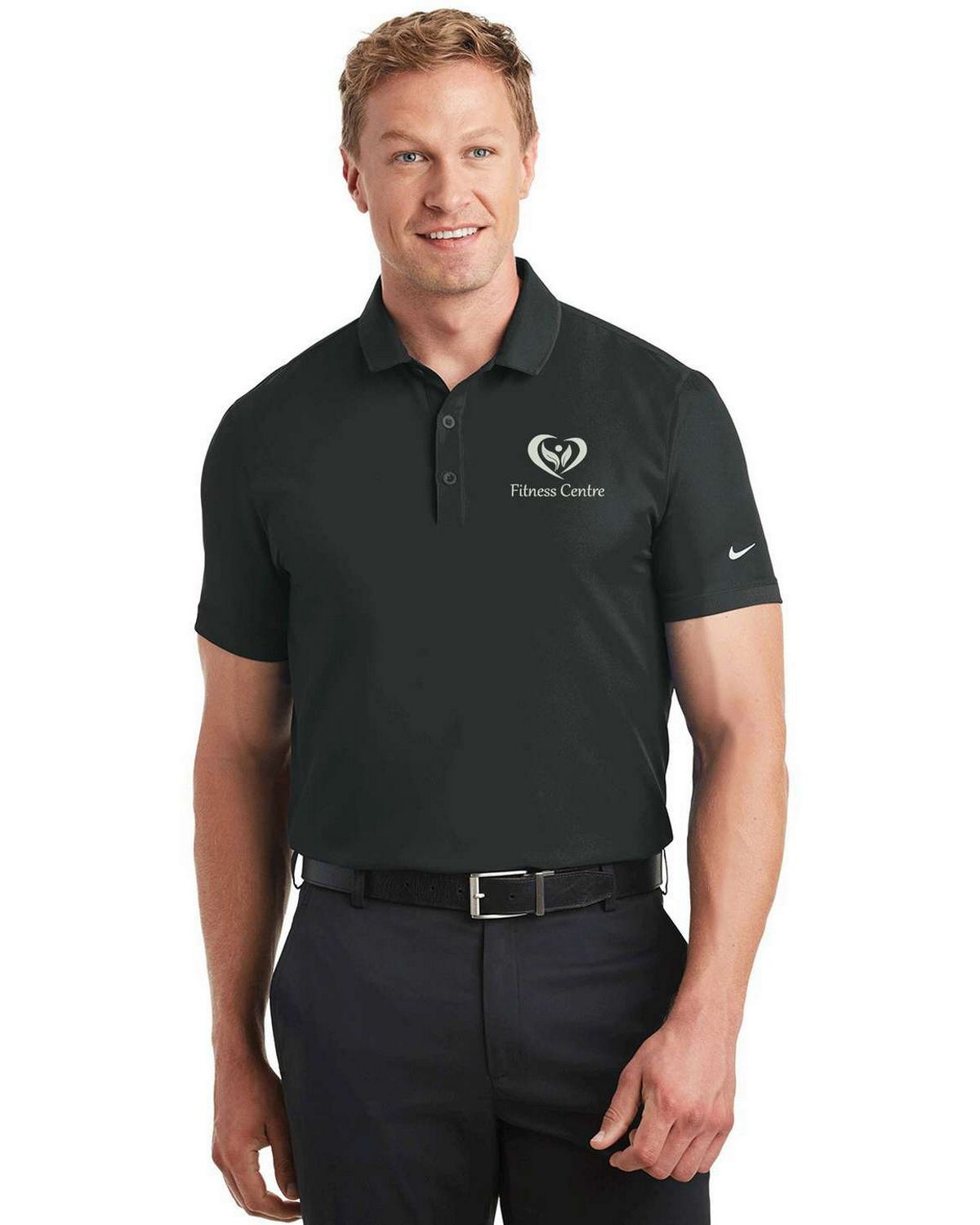 Nike golf dri fit logo embroidered woven polo size chart for Nike dri fit embroidered shirts