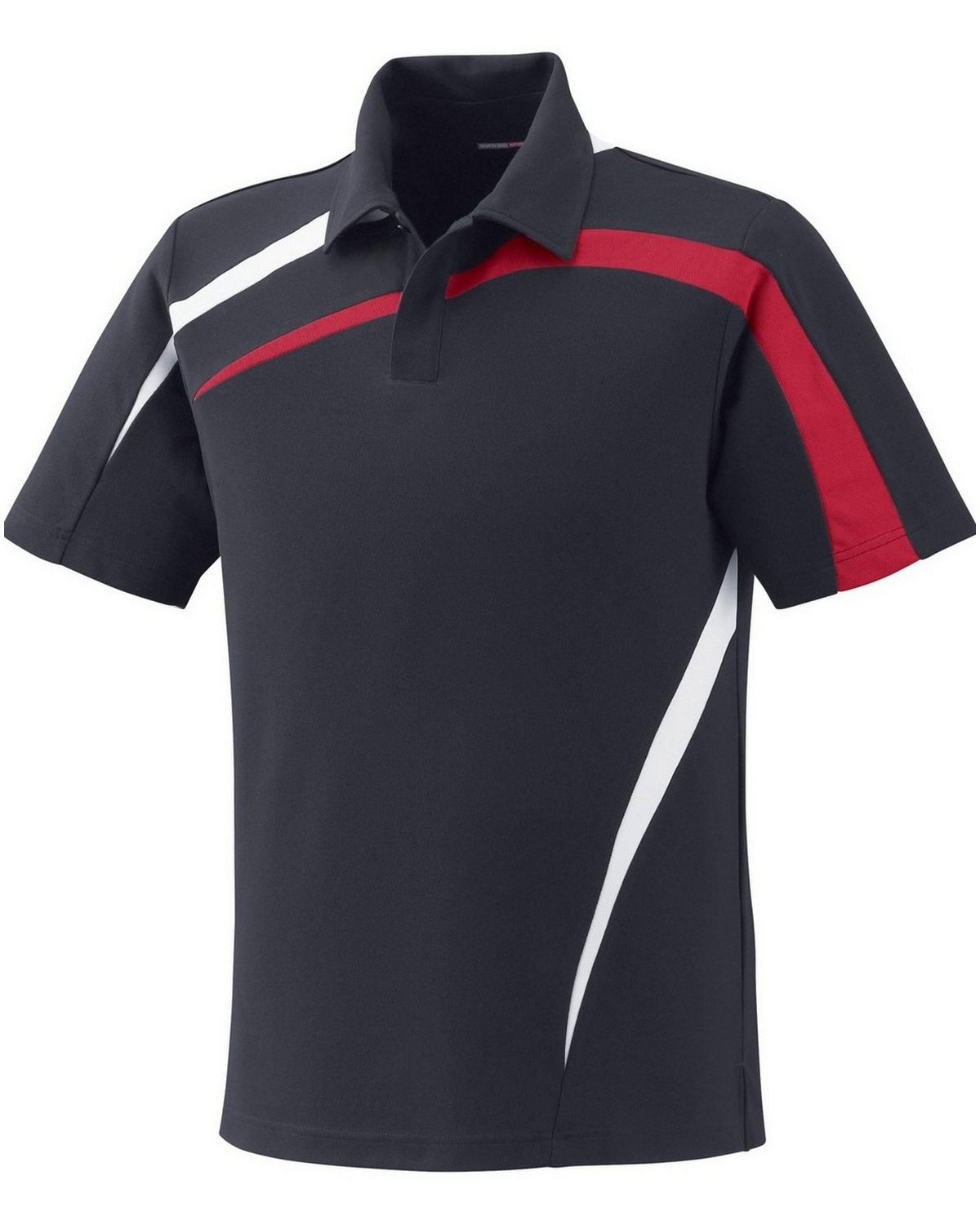 North End 88645 Men's Impact Performance Polyester Pique Colorblock Polo - Black Silk - S #silk