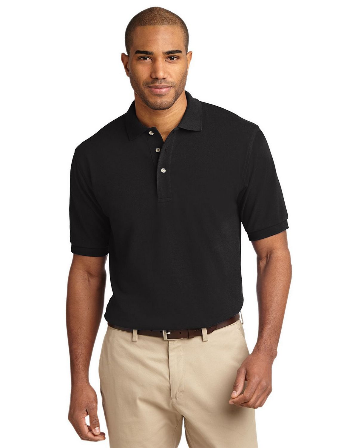 Port Authority K420 Mens Pique Knit Polo - Black - XS