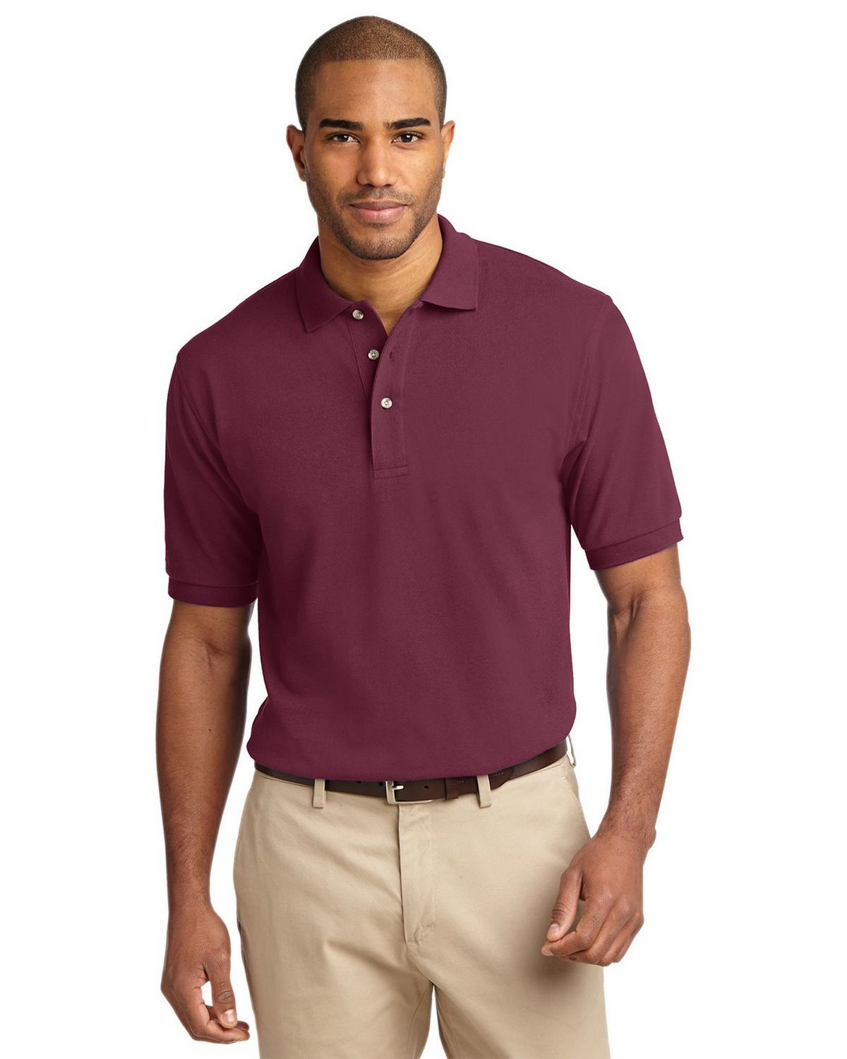 Port Authority K420 Pique Knit Polo - Burgundy - XS