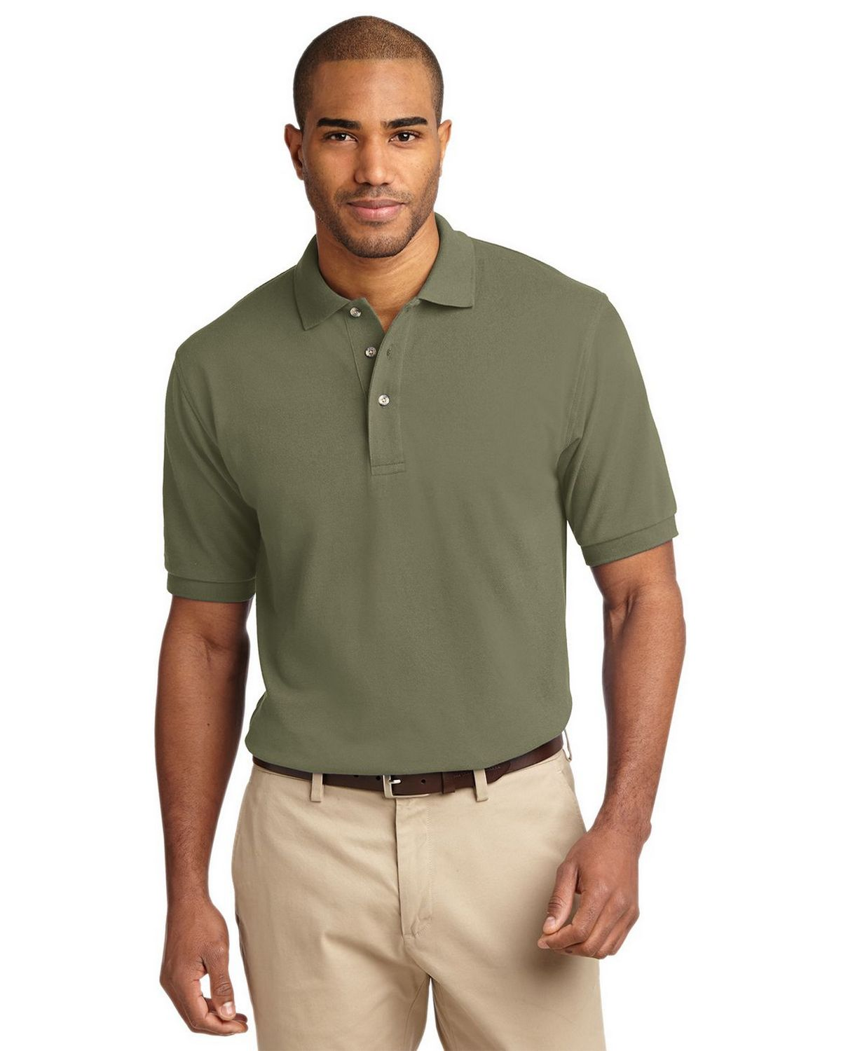 Port Authority K420 Pique Knit Polo - Faded Olive - XS