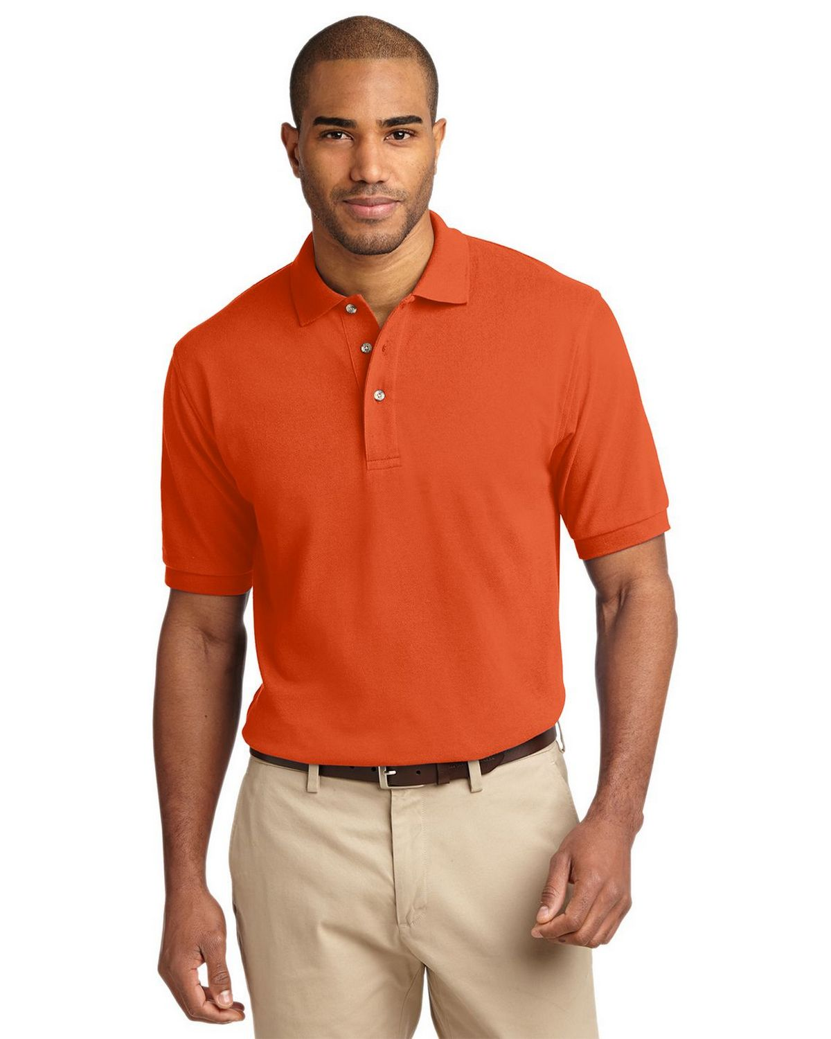 Port Authority K420 Pique Knit Polo - Orange - XS