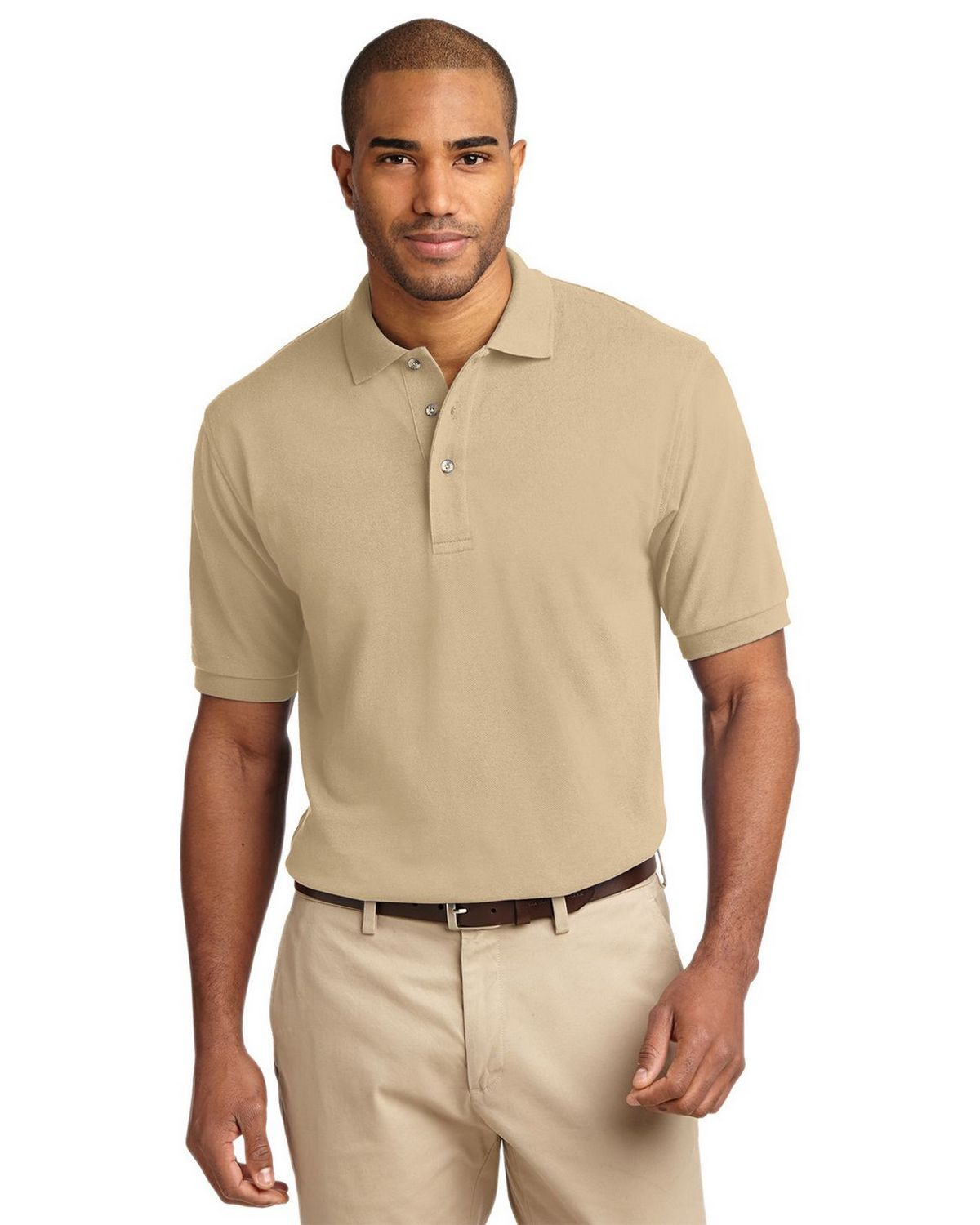 Port Authority K420 Pique Knit Polo - Stone - XS