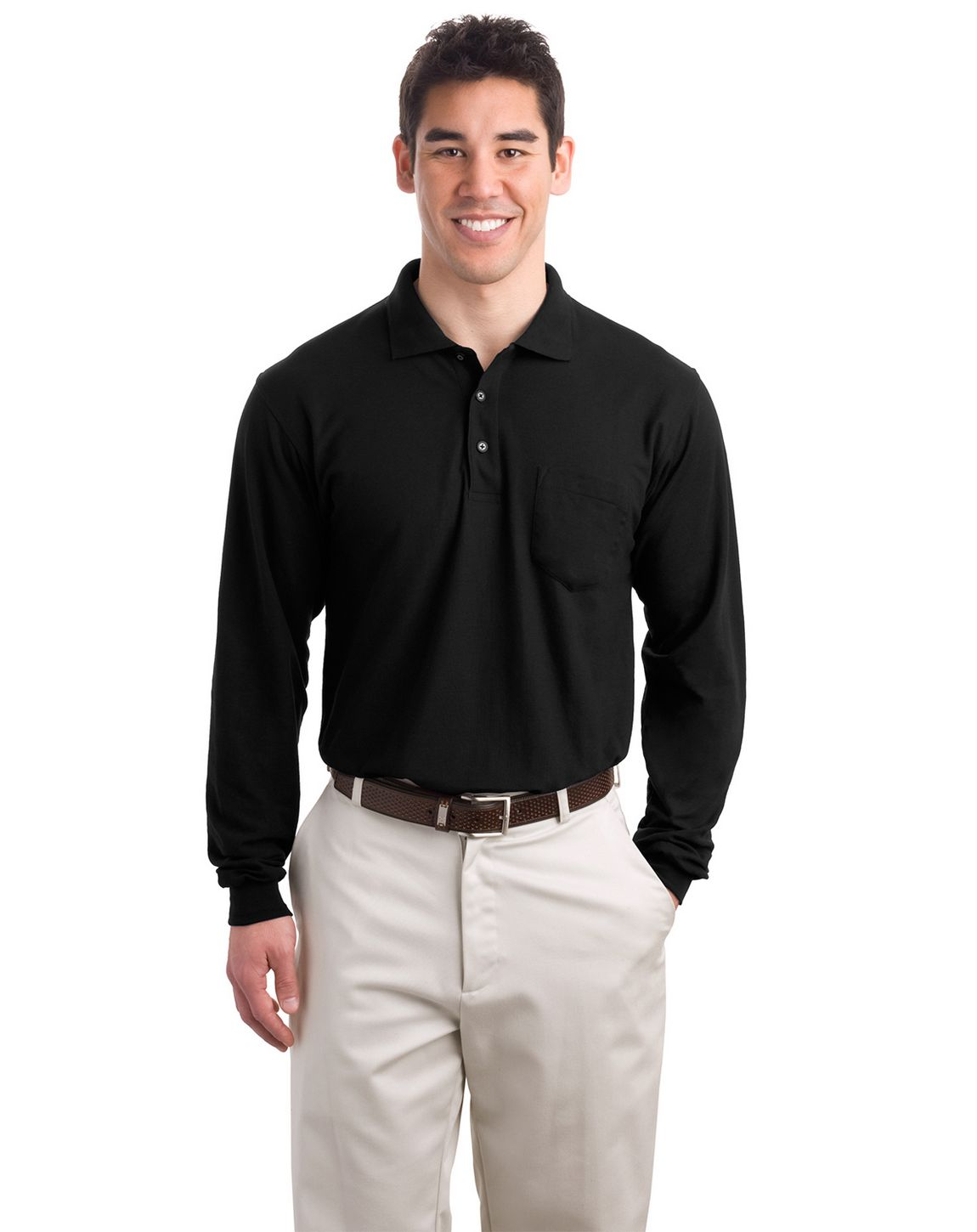 Port Authority K500LSP Men's Long Sleeve Silk Touch Polo with Pocket - Black - XS #silk