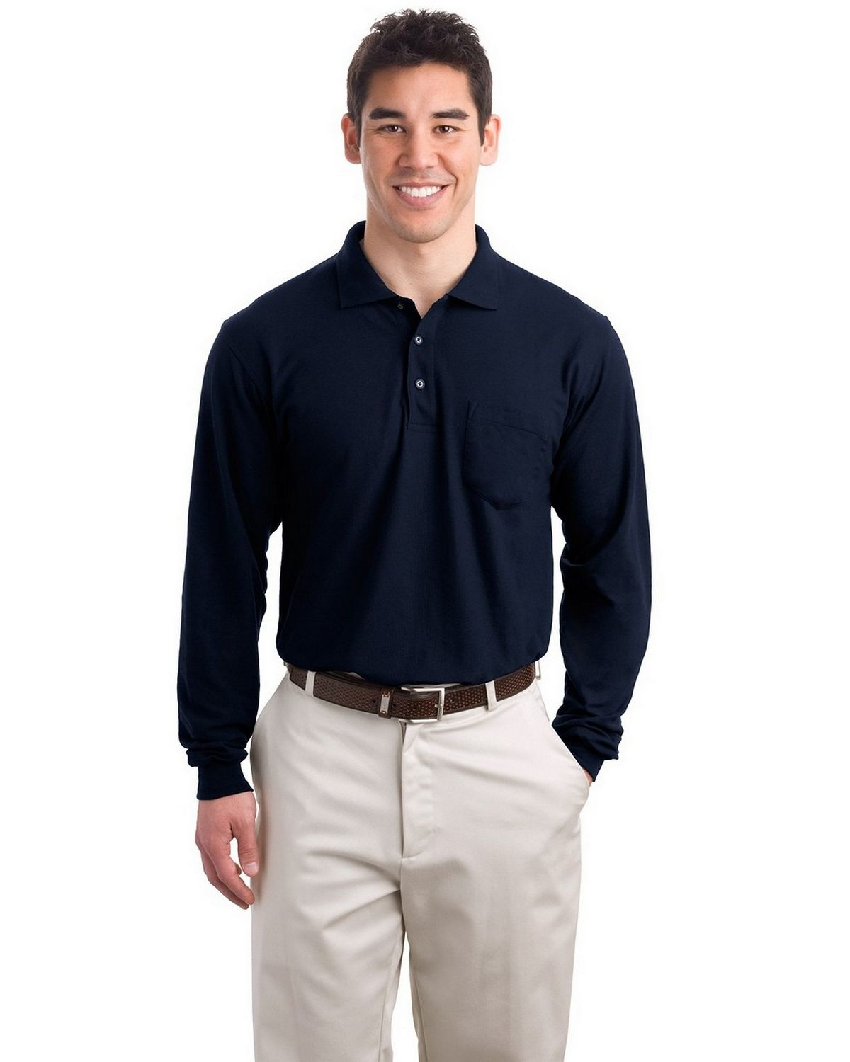Port Authority K500LSP Men's Long Sleeve Silk Touch Polo with Pocket - Navy - XS #silk