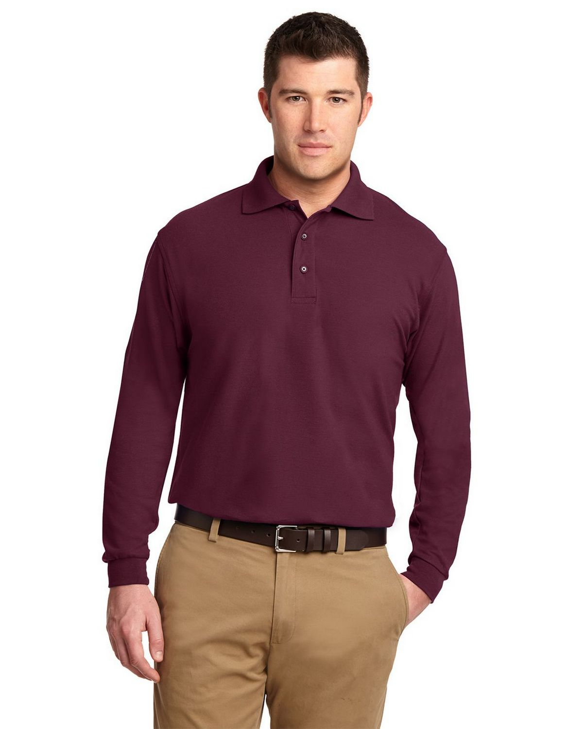 Port Authority K500LS Men's Long Sleeve Silk Touch Polo - Burgundy - XS #silk