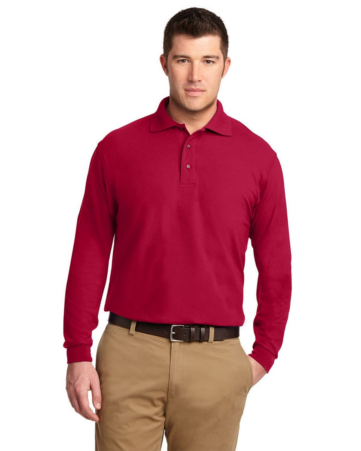 Port Authority K500LS Men's Long Sleeve Silk Touch Polo - Red - XS #silk