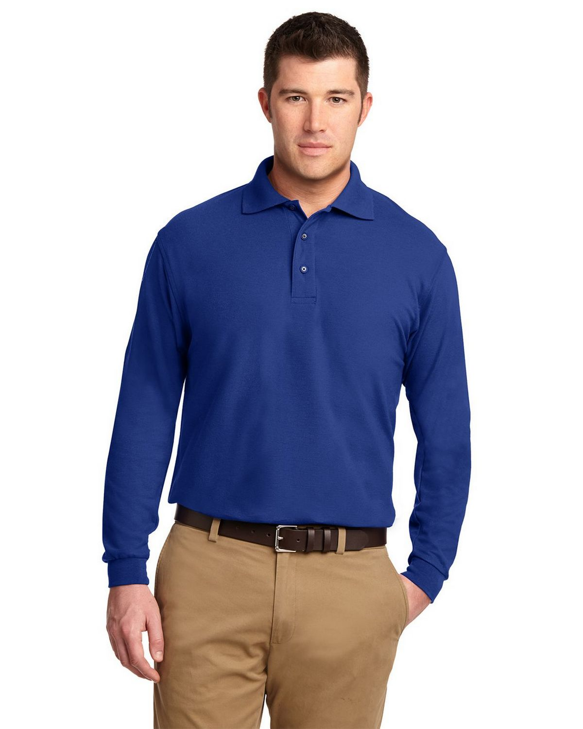 Port Authority K500LS Men's Long Sleeve Silk Touch Polo - Royal - XS #silk