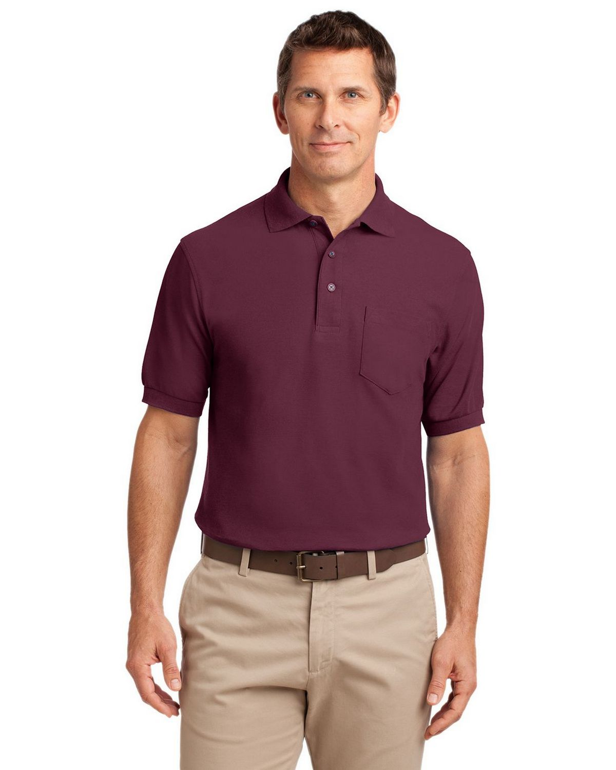 Port Authority K500P Men's Silk Touch Polo with Pocket - Burgundy - XS #silk
