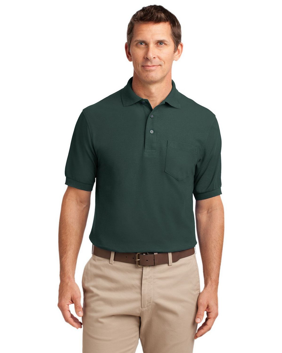Port Authority K500P Men's Silk Touch Polo with Pocket - Dark Green - XS #silk