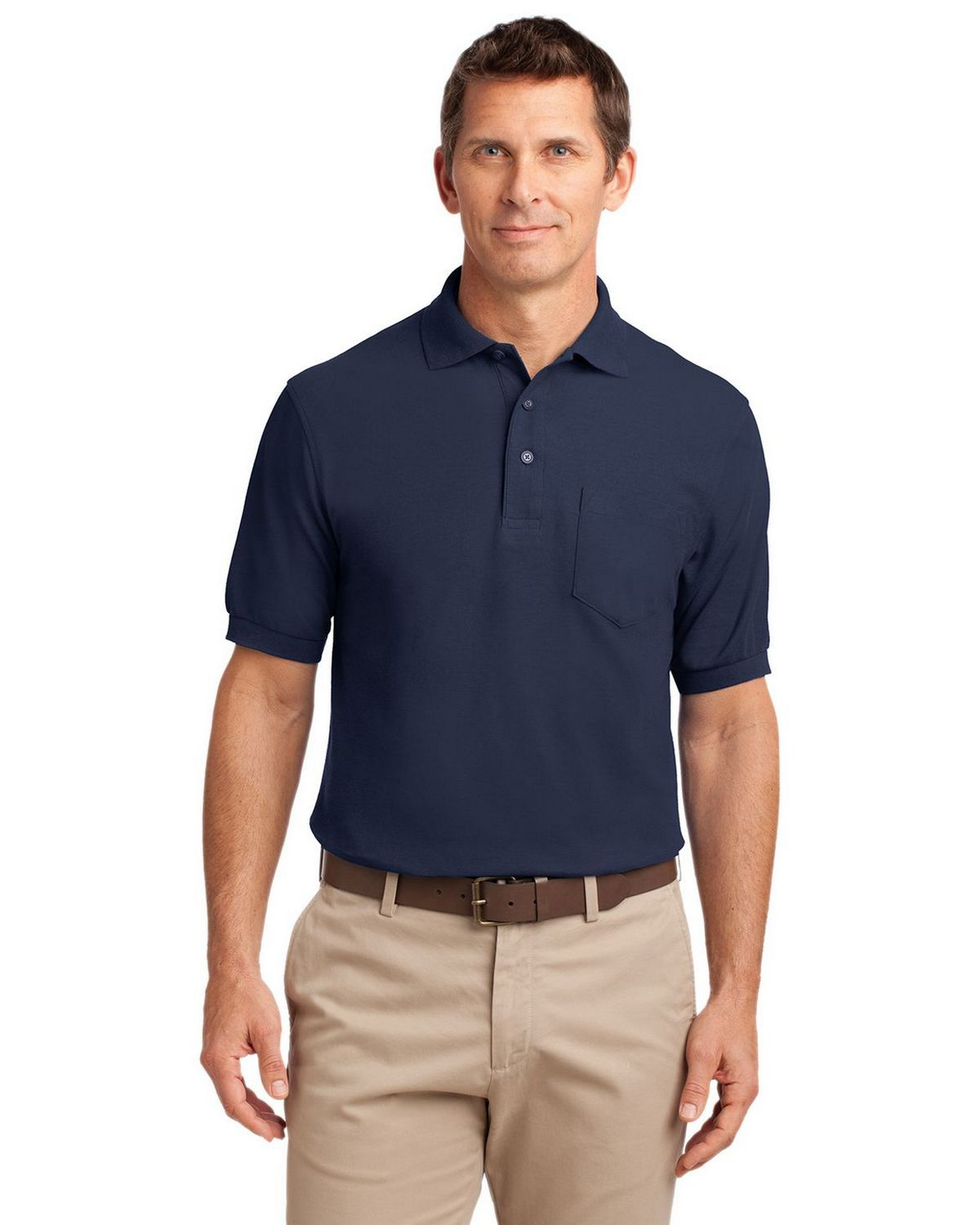 Port Authority K500P Men's Silk Touch Polo with Pocket - Navy - XS #silk