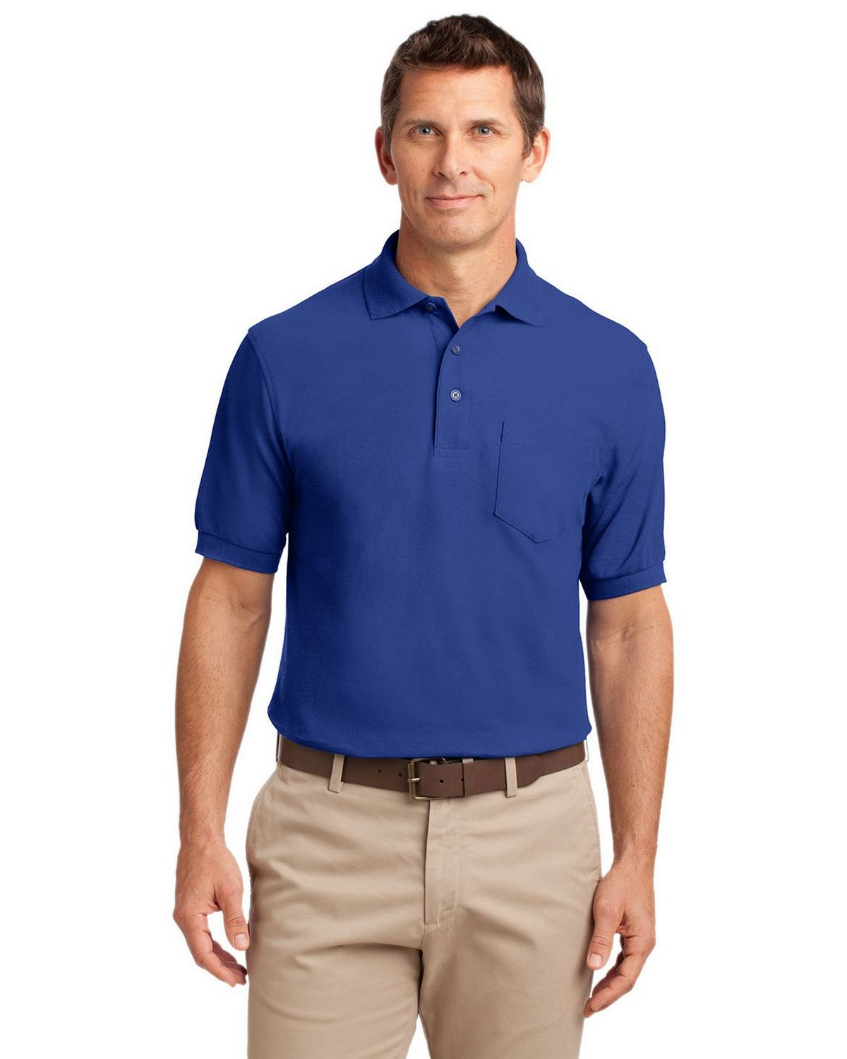 Port Authority K500P Men's Silk Touch Polo with Pocket - Royal - XS #silk