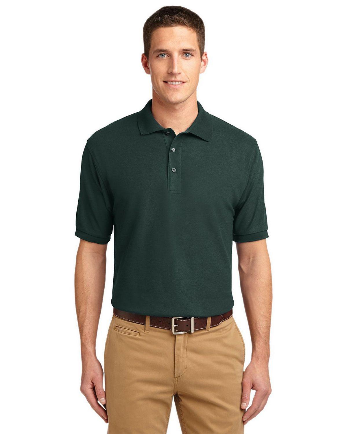 Port Authority K500 Men's Silk Touch Polo - Dark Green - XS #silk