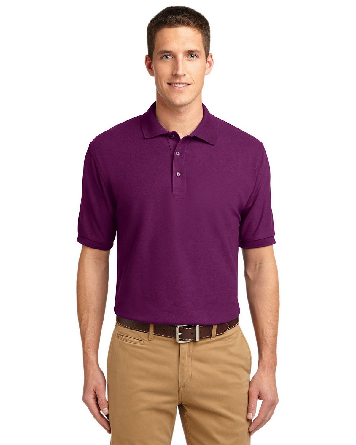 Port Authority K500 Men's Silk Touch Polo - Deep Berry - XS #silk