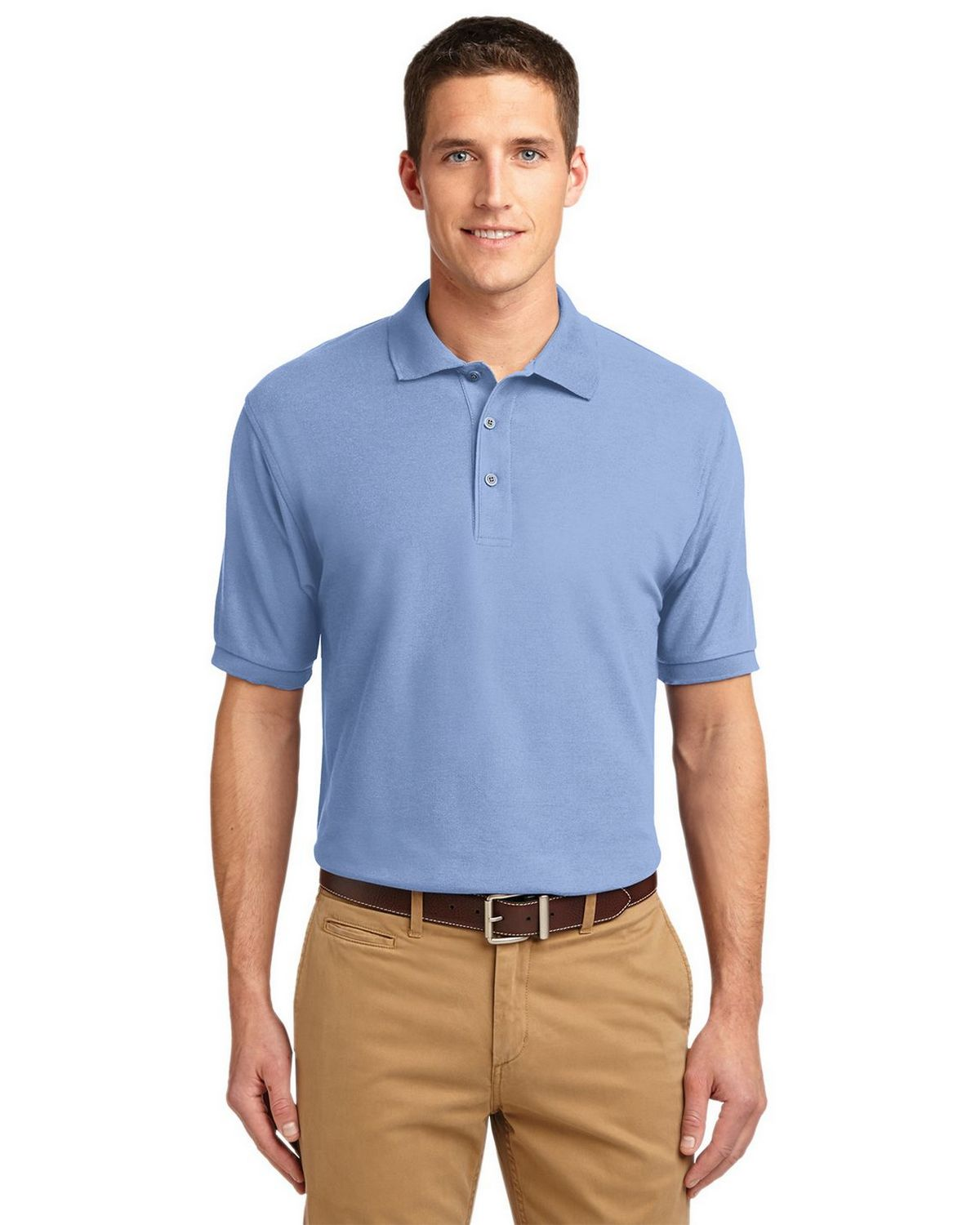 Port Authority K500 Men's Silk Touch Polo - Light Blue - XS #silk