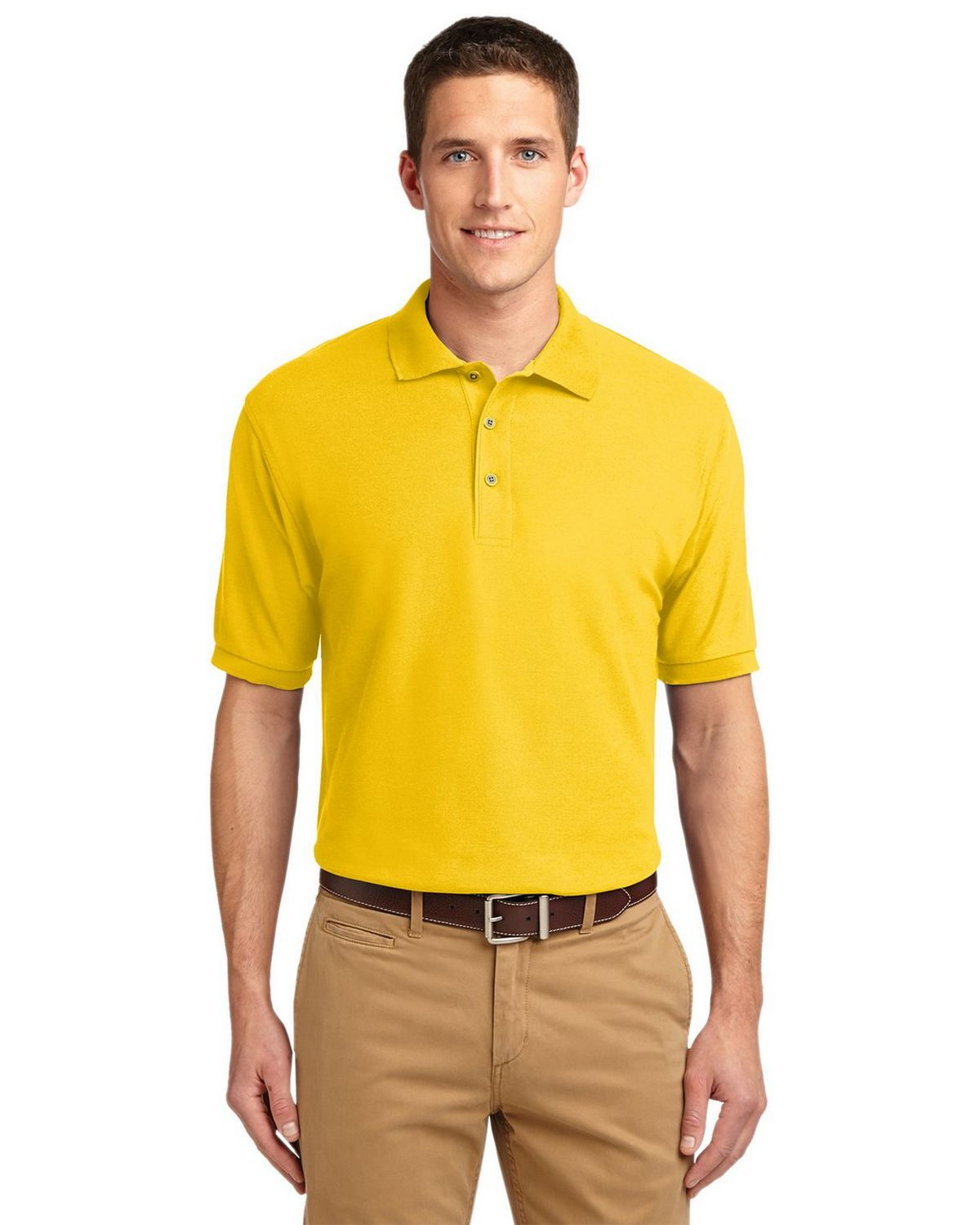 Port Authority K500 Men's Silk Touch Polo - Sunflower Yellow - XS #silk