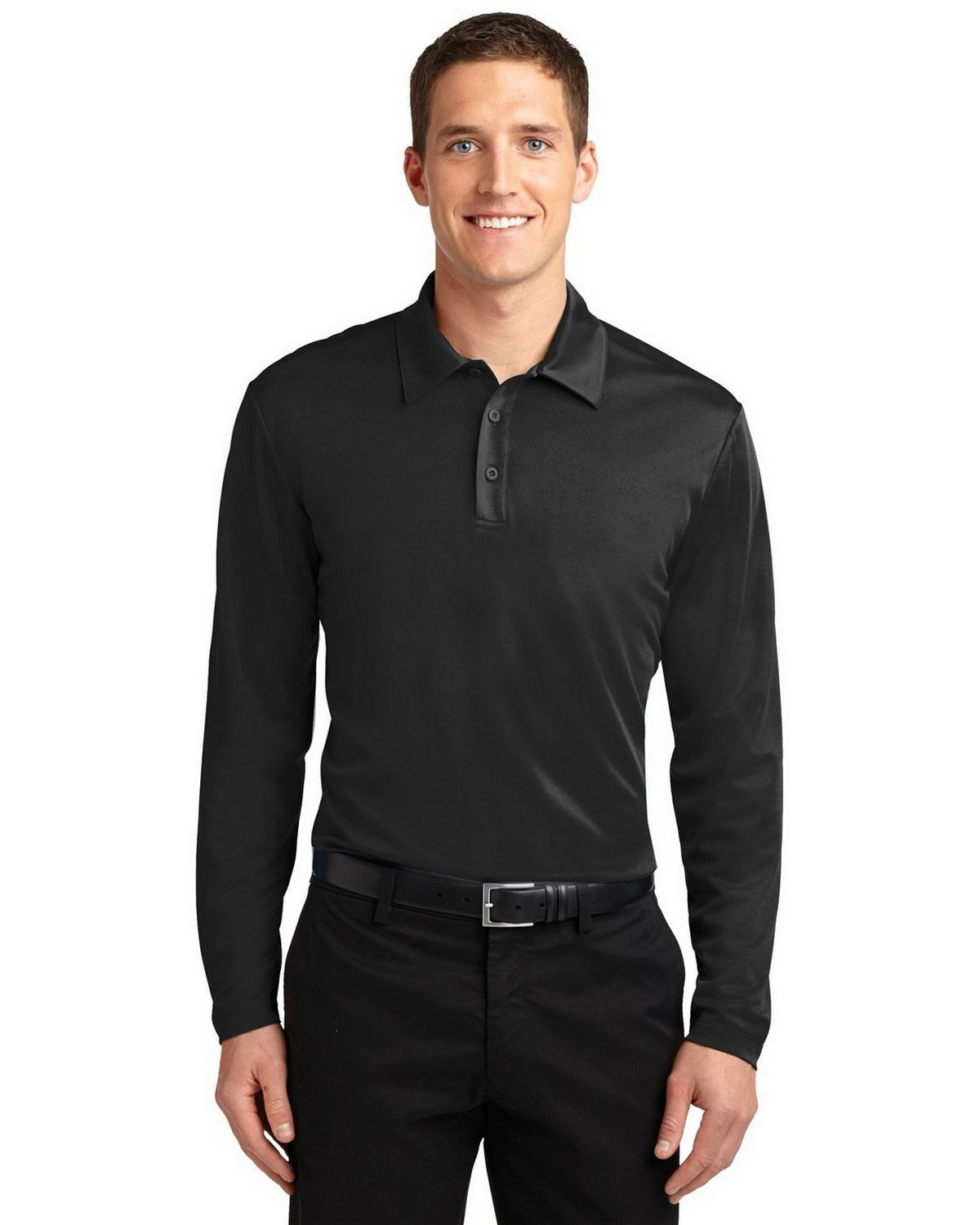 Port Authority K540LS Men's Silk Touch Performance Polo - Black - XS #silk