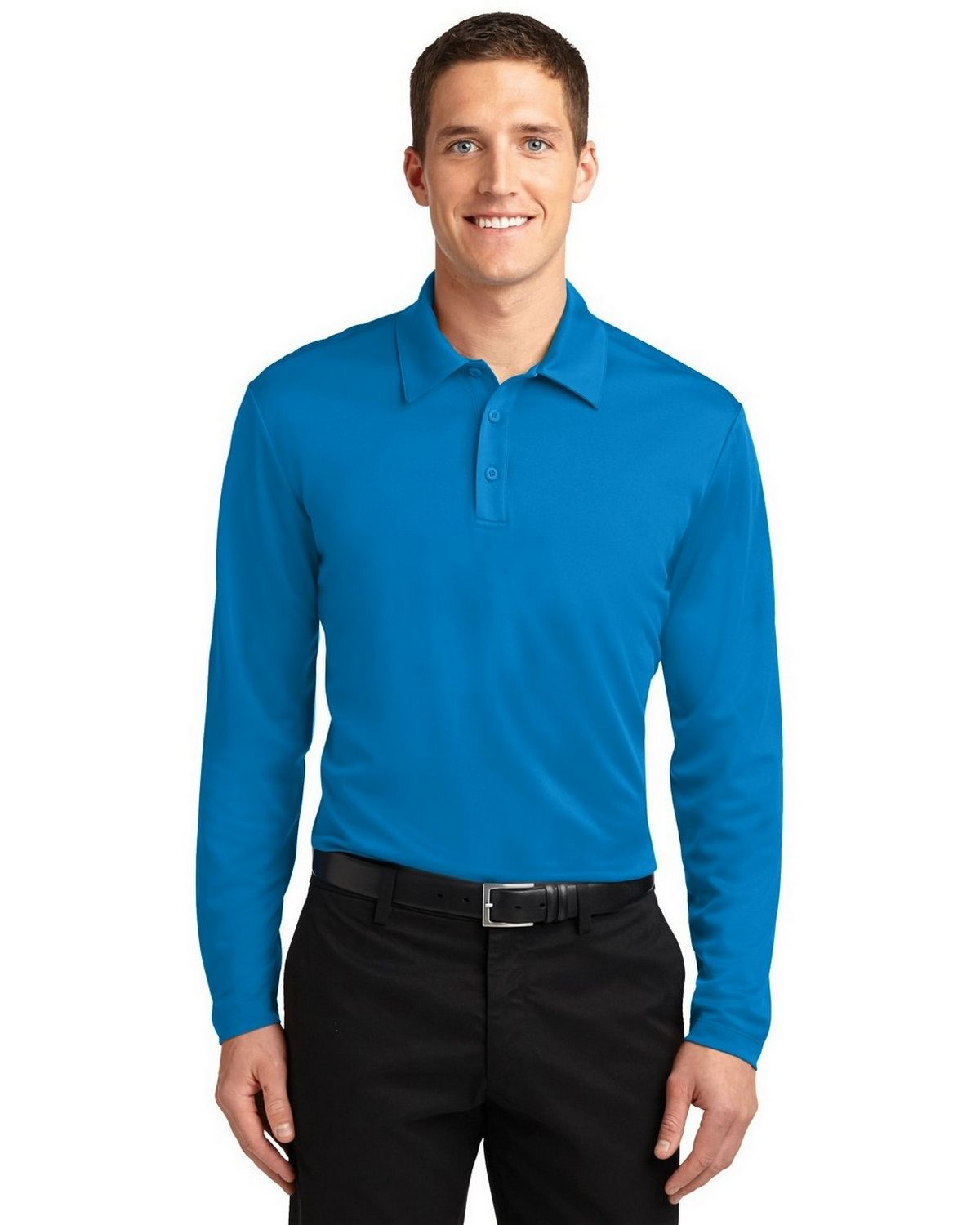 Port Authority K540LS Men's Silk Touch Performance Polo - Brilliant Blue - XS #silk