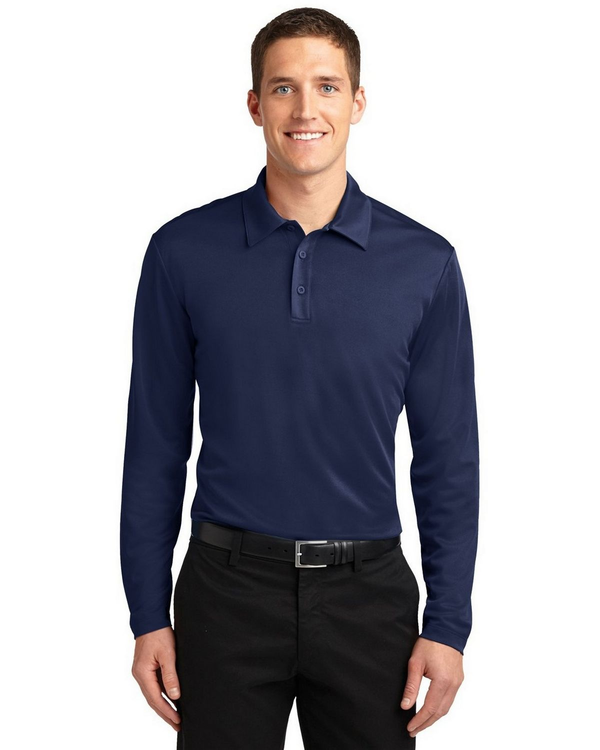 Port Authority K540LS Men's Silk Touch Performance Polo - Navy - XS #silk